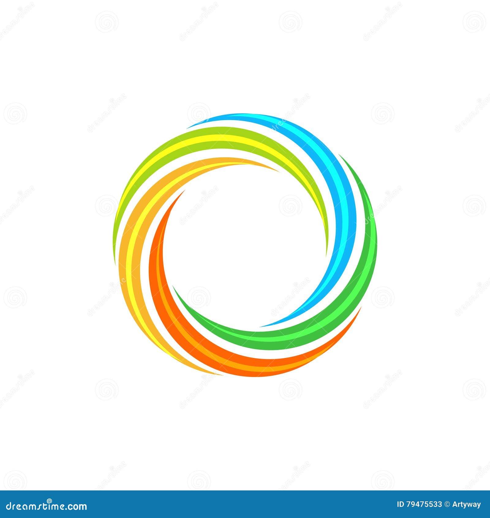 Logo circolare variopinto astratto isolato del sole Logotype dell arcobaleno di forma rotonda Icona di turbinio, di tornado e di
