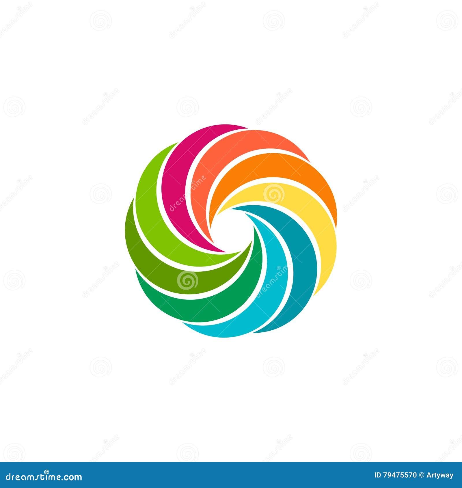 Logo Circolare Variopinto Astratto Isolato Del Sole Logotype Dell