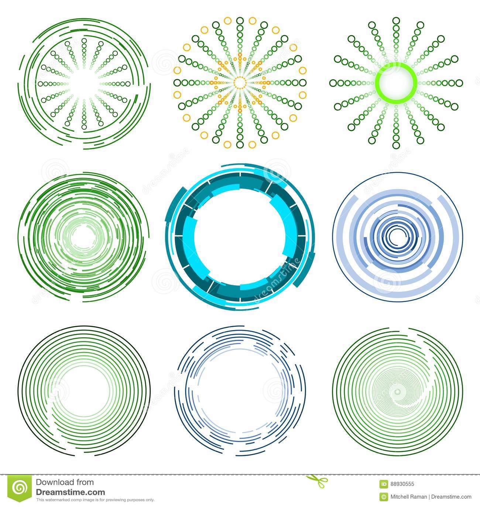 Logo Collection de projetos azuis e verdes da forma do círculo