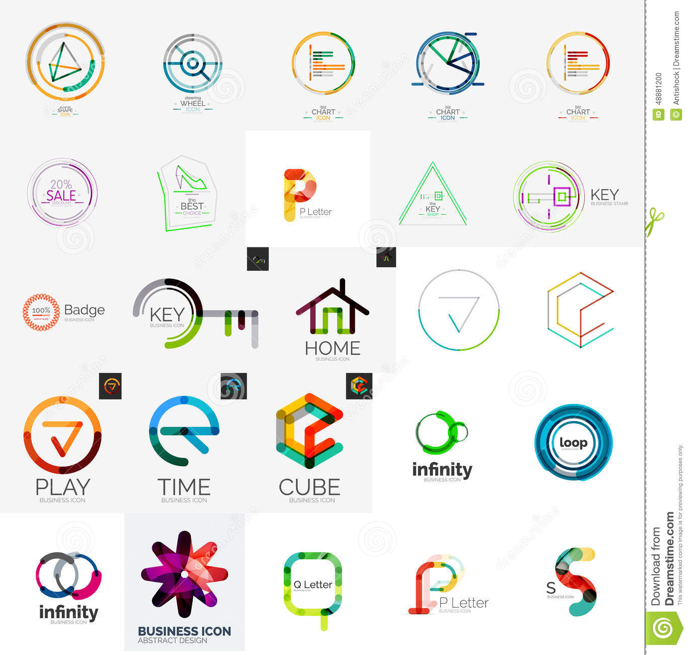 Logo Collection, Geometric Business Icon Set Stock Vector