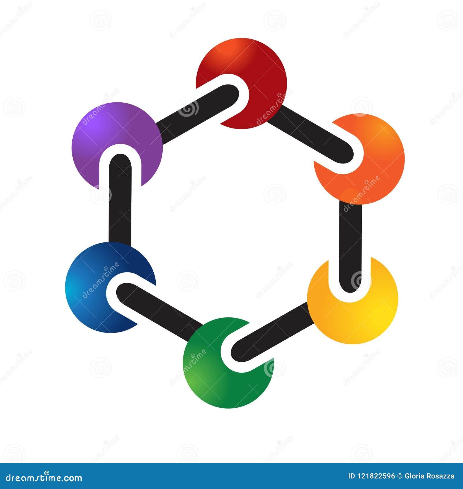 Logo Colorful Molecule Atom Chemical Symbol Stock Vector