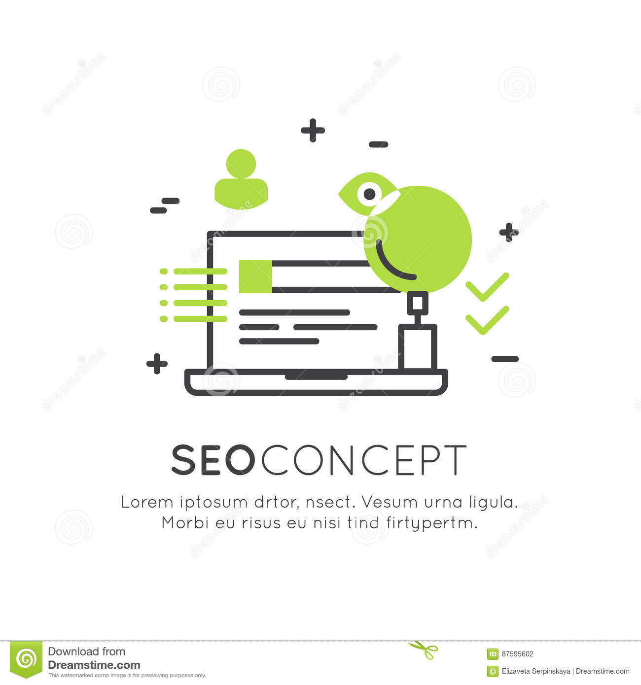 Logo Concept von SEO Search Engine Optimization Process