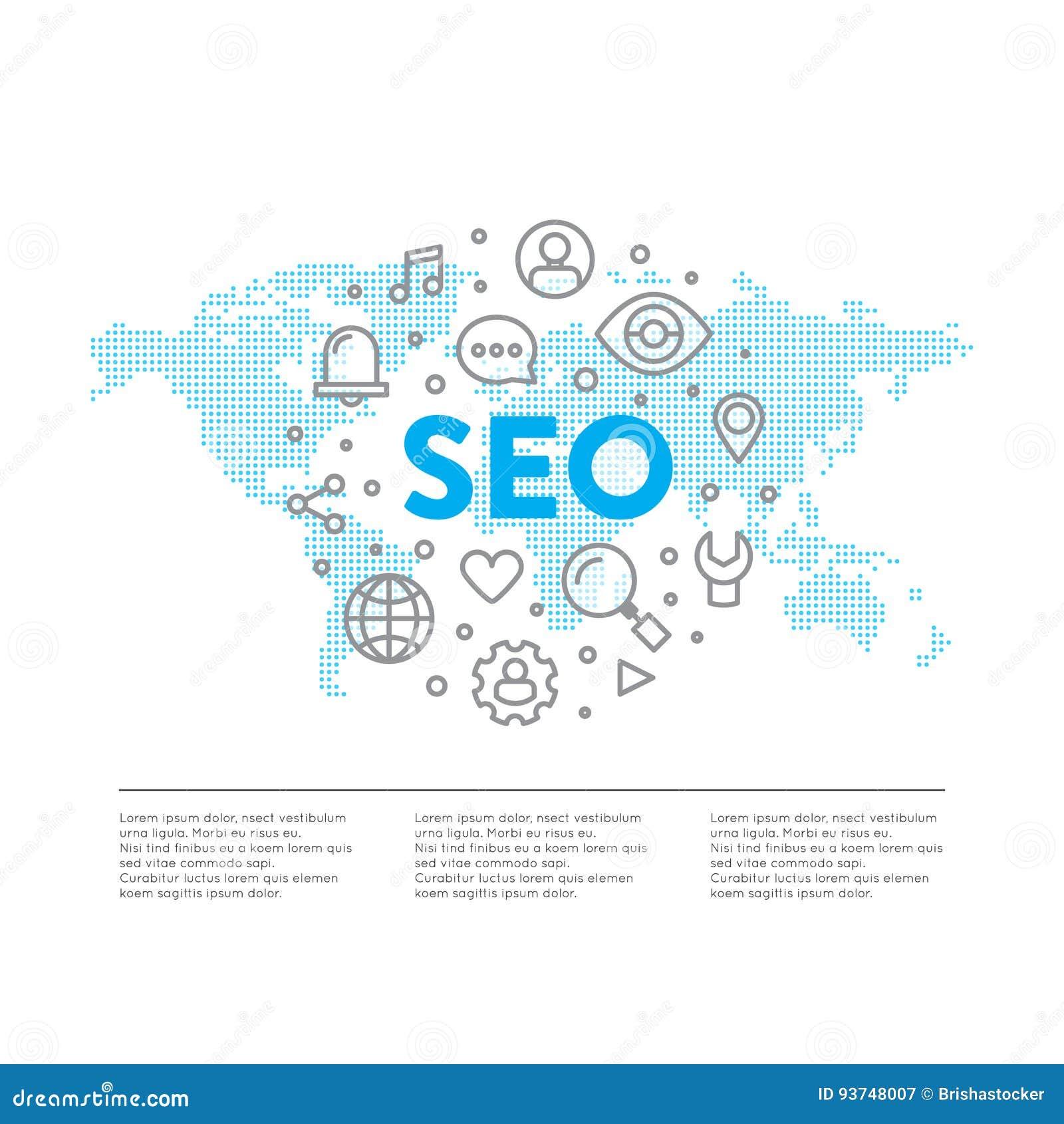 Logo Concept von SEO Search Engine Optimization Process mit weltweitem globalem Karten-Element