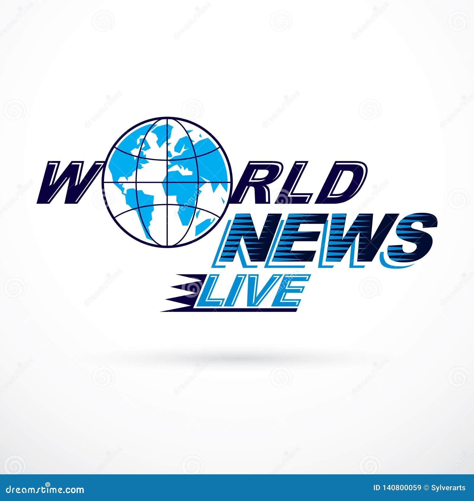 Logo conceptuel de nouvelles du monde, illustration de globe de vecteur