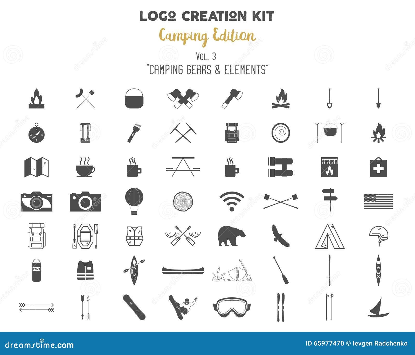Logo Creation Kit Bundle Camping Edition Set Travel Gear Vector