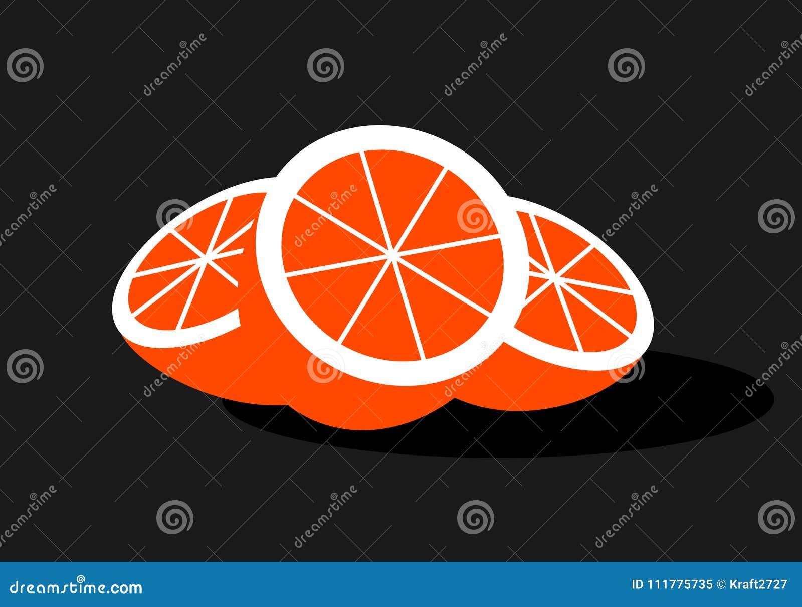 Logo of a cut orange in a flat design
