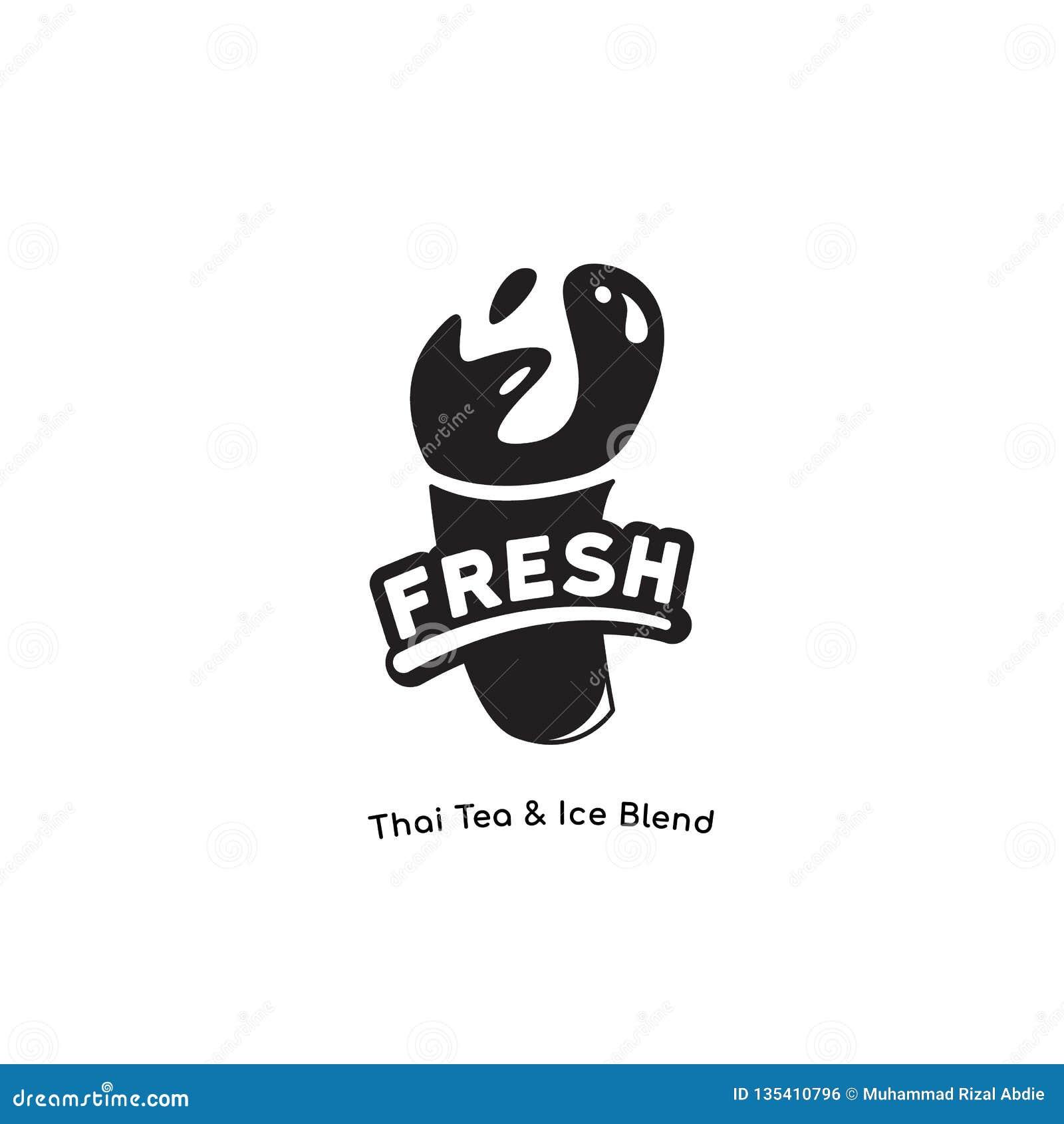 Logo délicieux frais pour le lait de poule, thé thaïlandais, chocolat, jus, marque de boissons de smoothie dans une couleur bonne