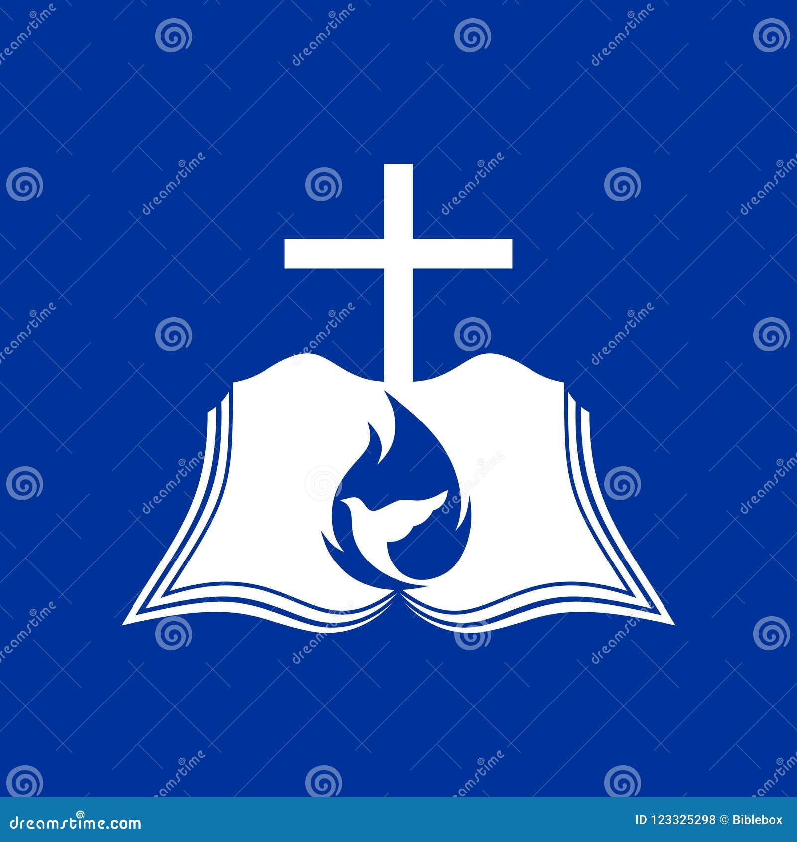 Logo d église La croix de Jésus, la bible ouverte et la colombe sont un symbole du Saint-Esprit