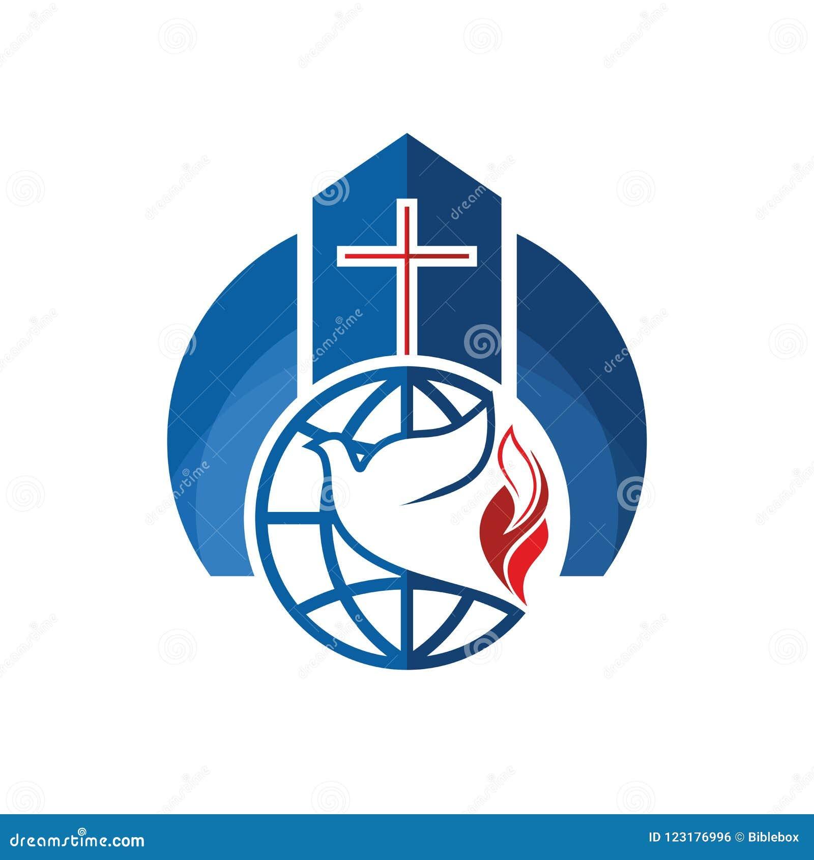 Logo d église Symboles chrétiens La croix, le globe et la colombe sont un symbole du Saint-Esprit