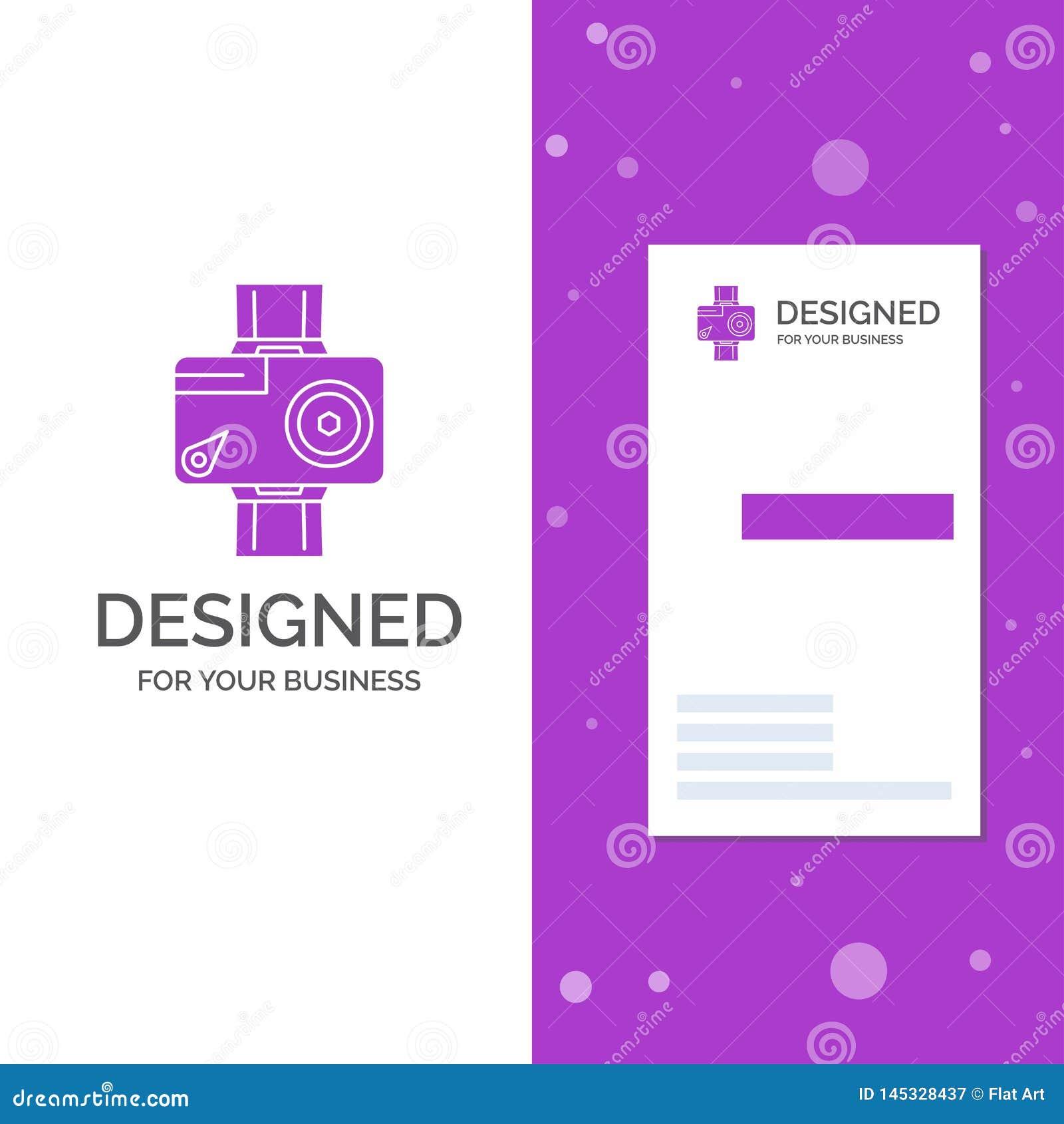 Logo d affaires pour la cam?ra, action, num?rique, visuelle, photo Calibre pourpre vertical de carte d affaires/de visite Fond cr