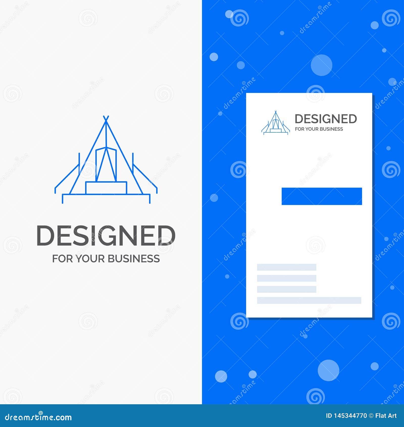 Logo d affaires pour la tente, camping, camp, terrain de camping, extérieur Calibre bleu vertical de carte d affaires/de visite