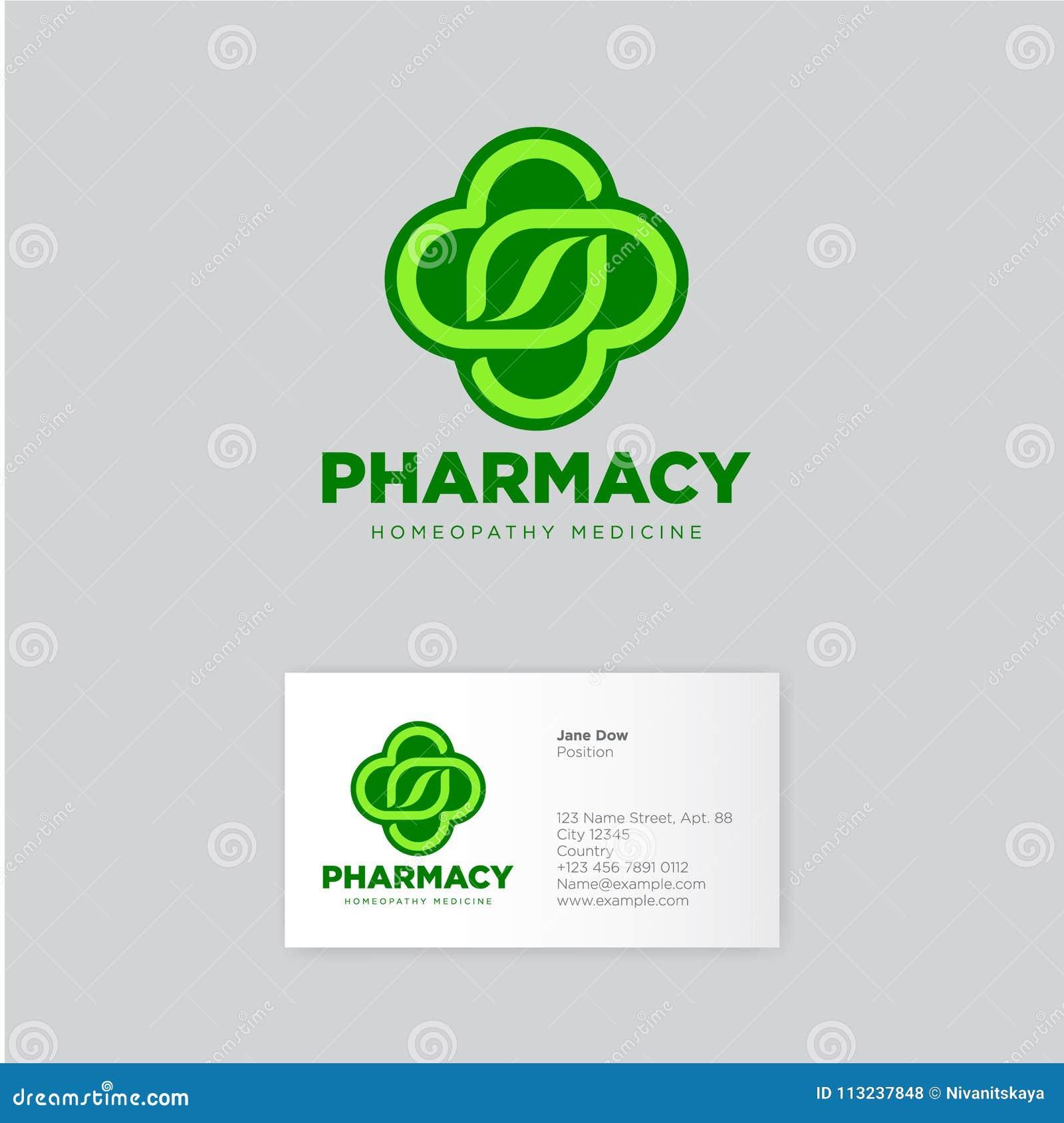Logo D Homeopathie De Pharmacie Graphisme Vert Embleme Fines Herbes Identite Carte