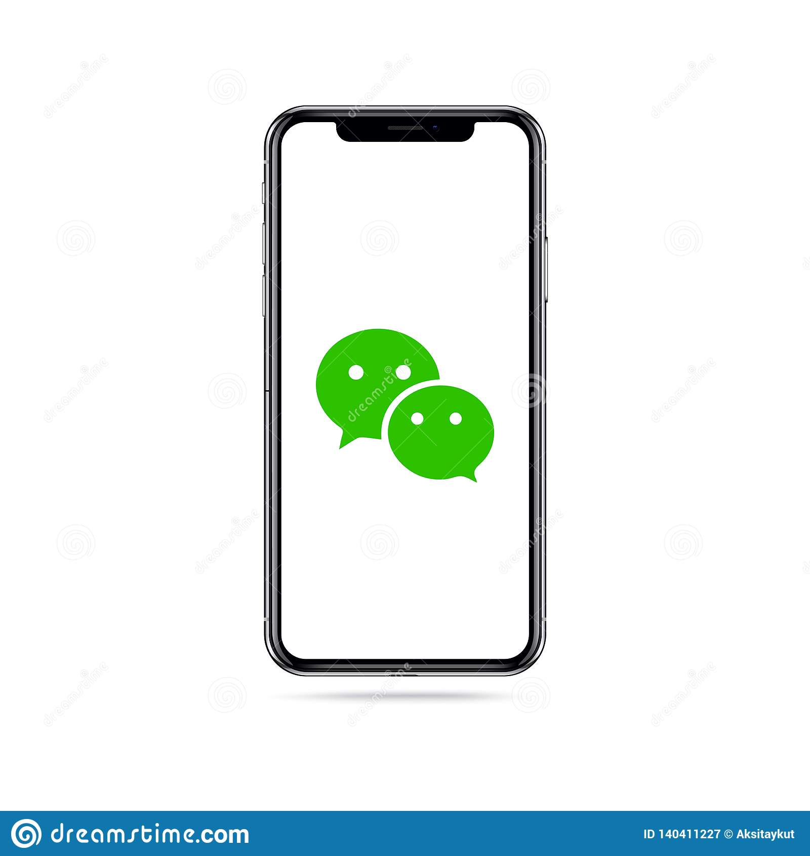 Logo d icône d appli de Wechat sur l écran d iphone