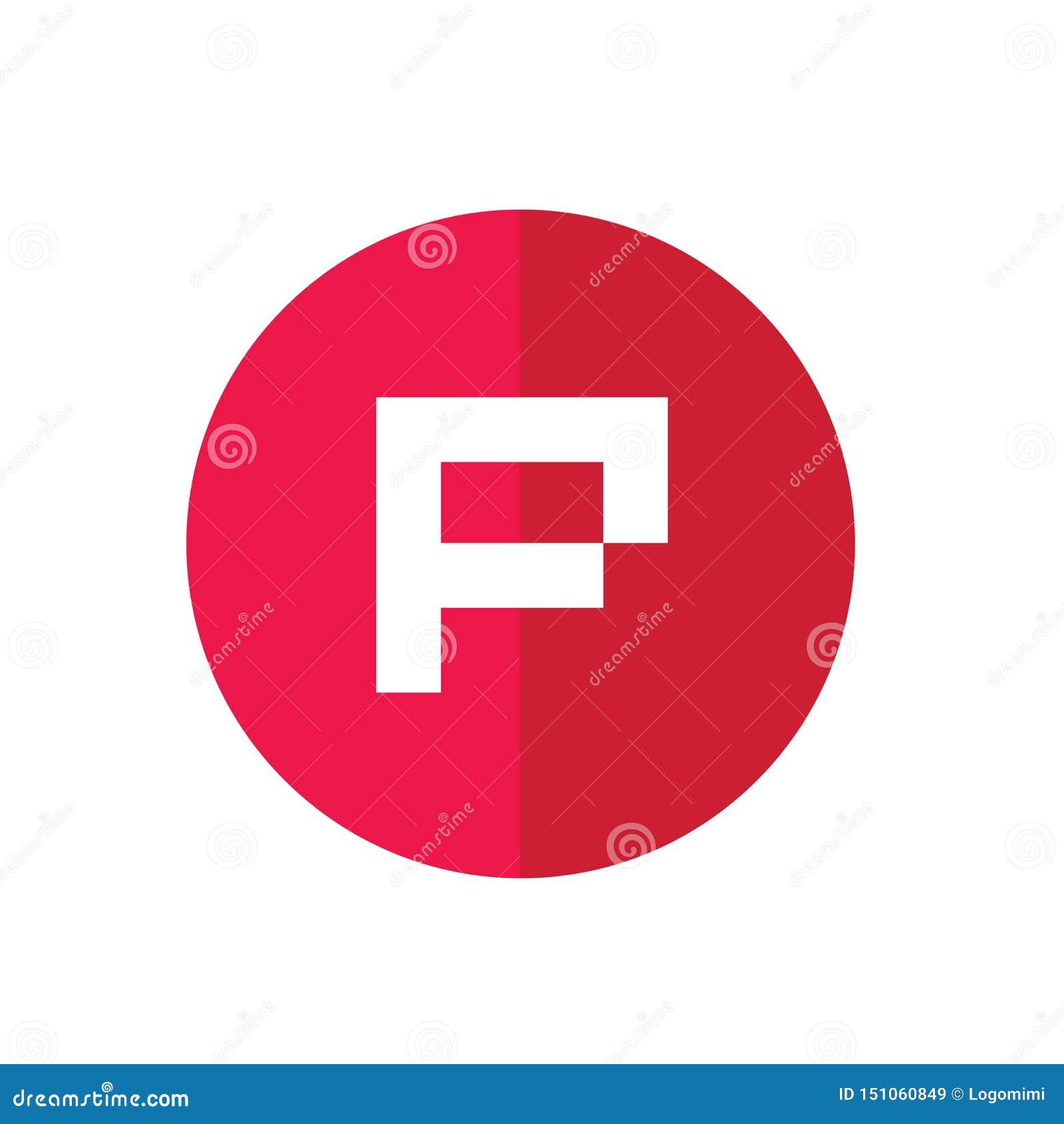 Logo d initiale de lettre de P, conception rouge d icône de cercle - vecteur