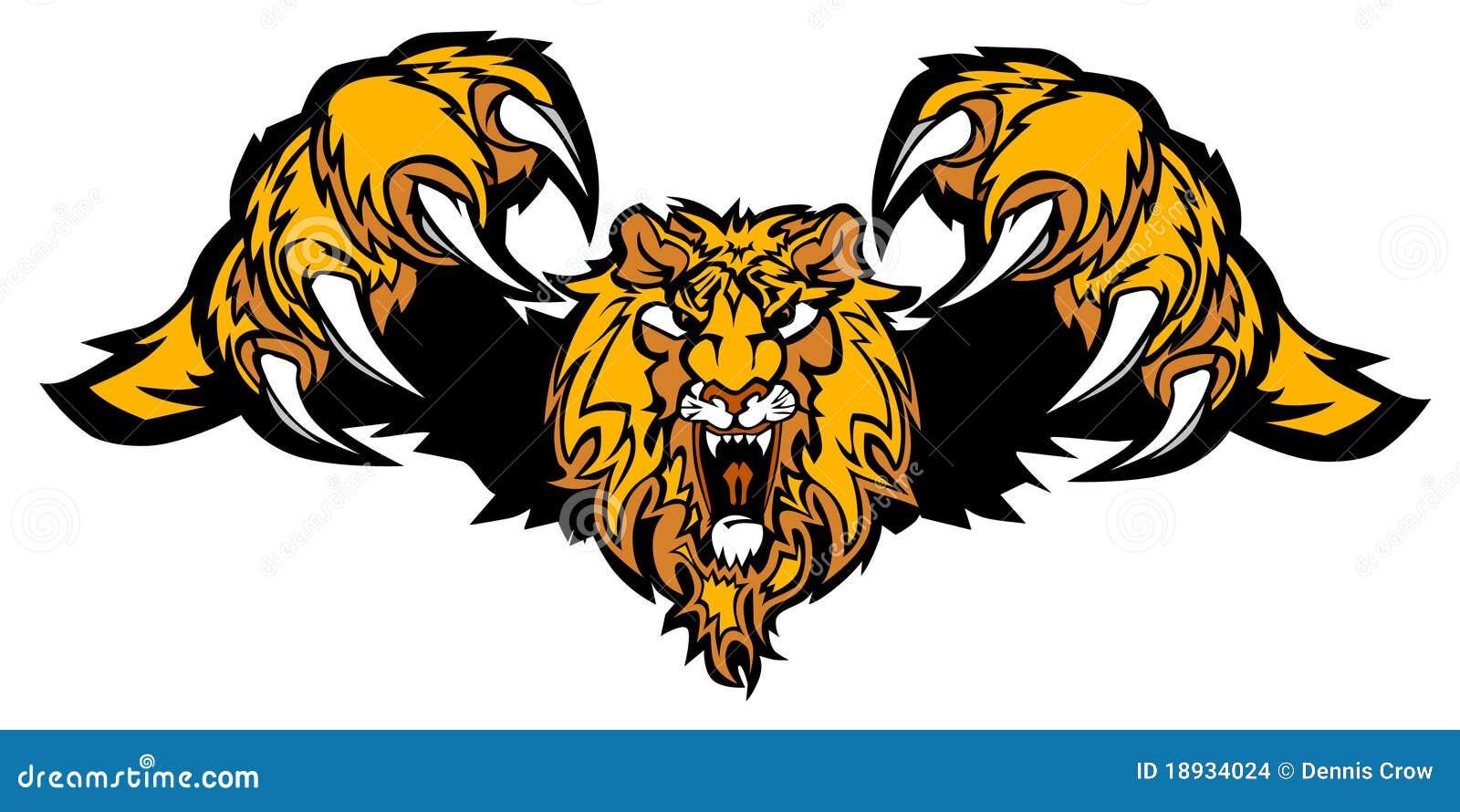 logo de attaque subit de vecteur de mascotte de lion
