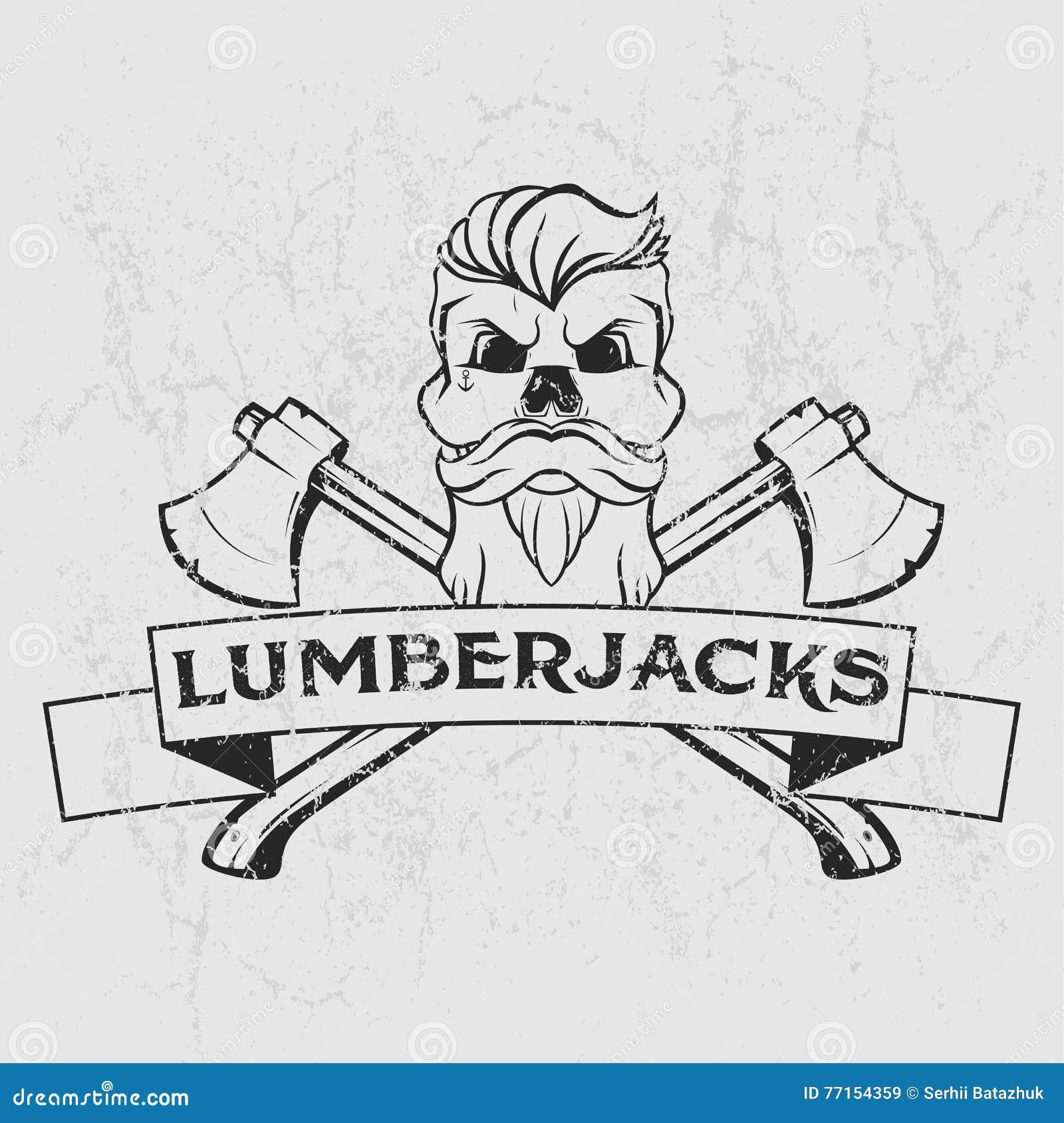 Logo de bûcheron, conception de T-shirt avec la barbe illustrée, crâne, haches et ruban Illustration tirée par la main