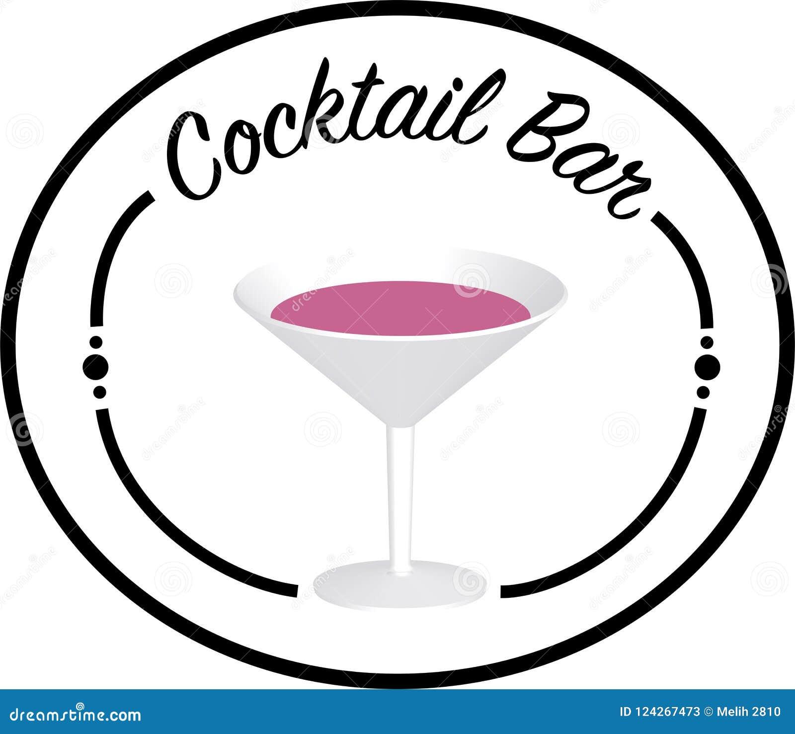 Logo de barre de cocktail avec le verre dans le moyen/transparant