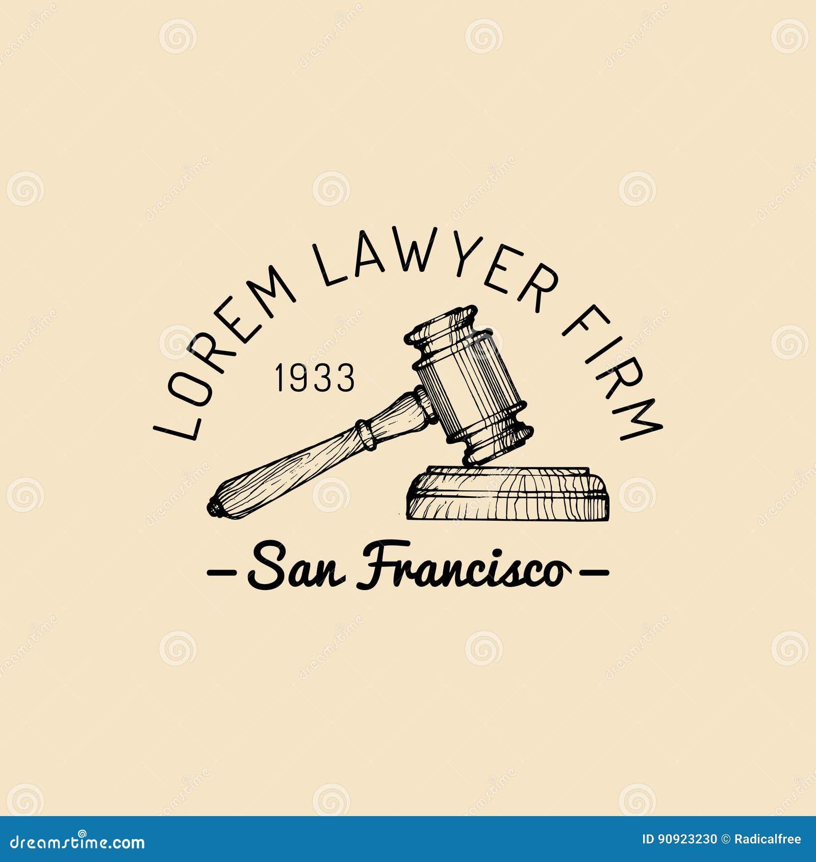 Logo de cabinet juridique avec l illustration de marteau Dirigez la mandataire de vintage, label d avocat, insigne ferme juridiqu