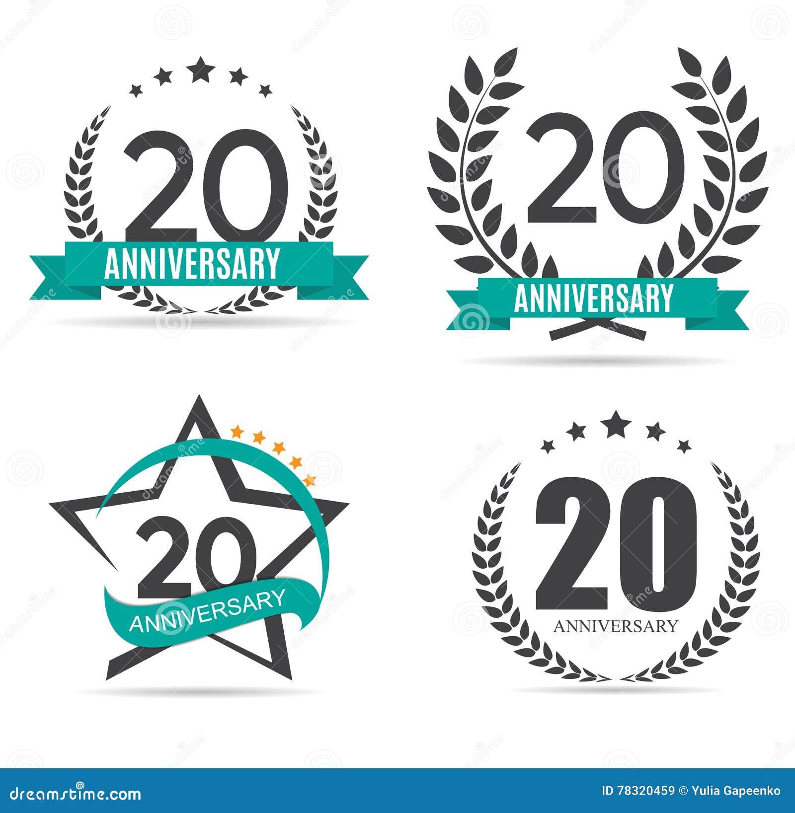 Logo De Calibre 20 Ans Danniversaire Dillustration Réglée De