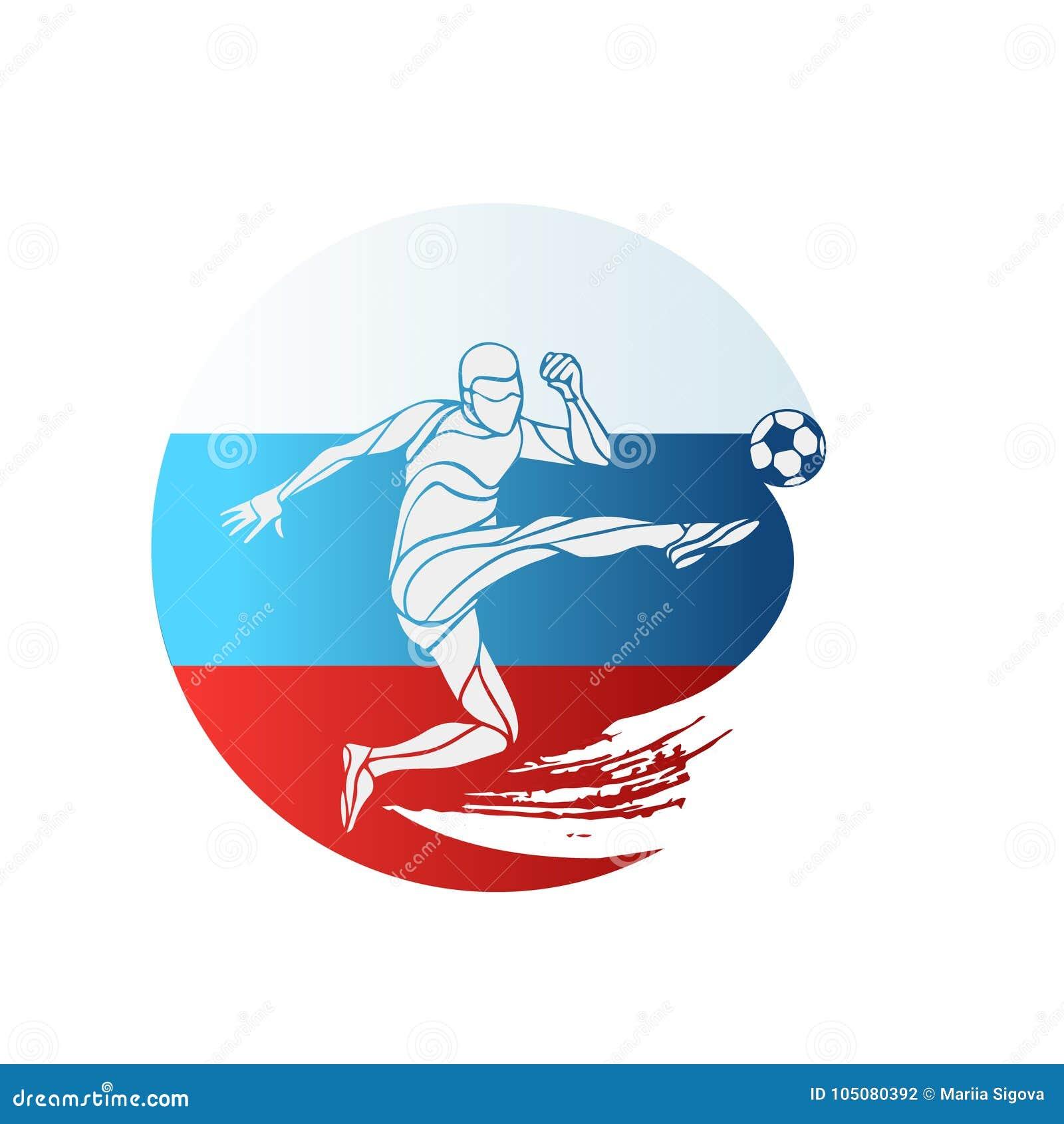 Logo de championnat du football indicateur Russie Dirigez l illustration du footballeur abstrait avec le drapeau national russe