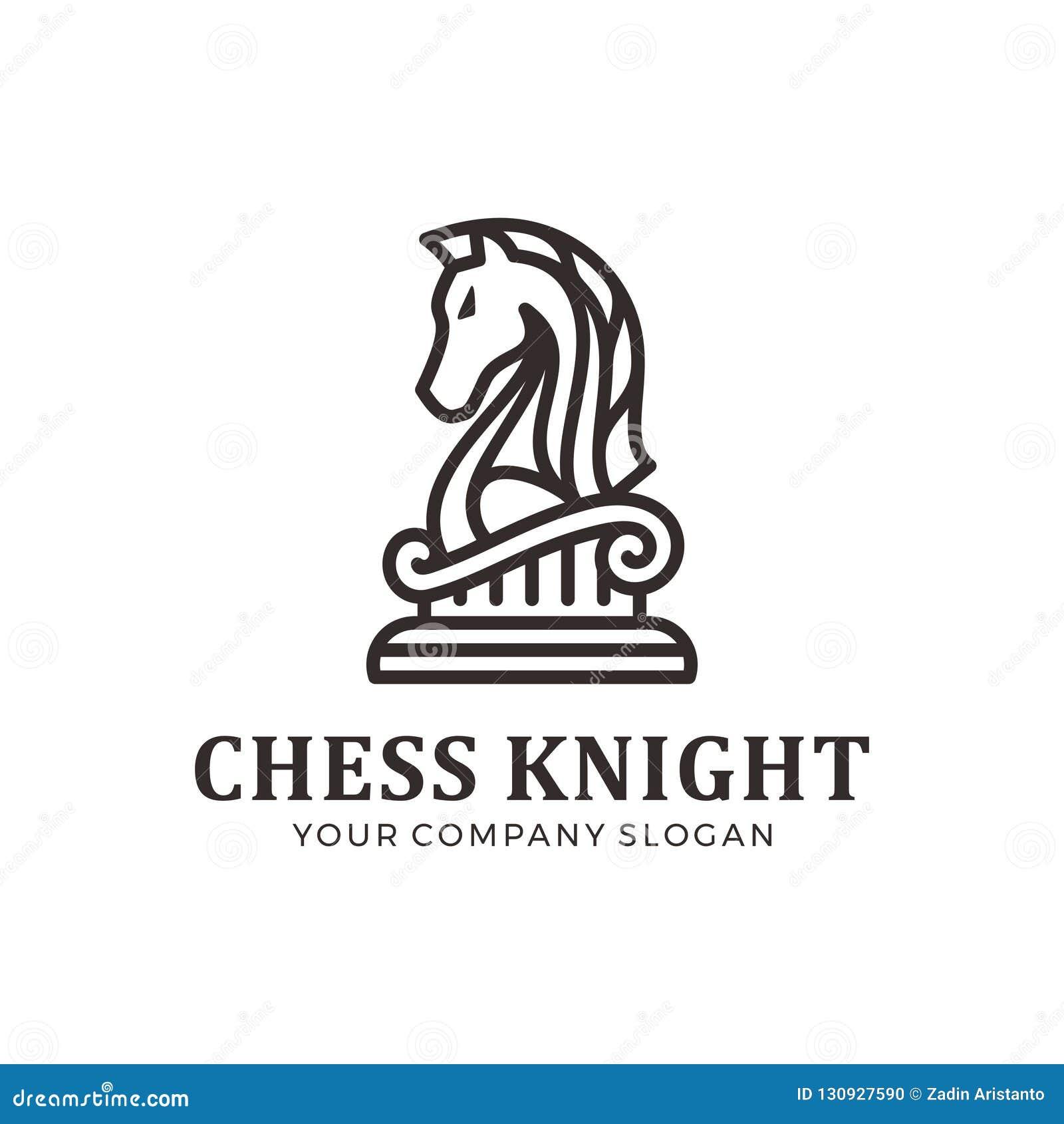 Logo de chevalier d échecs, logo de cheval