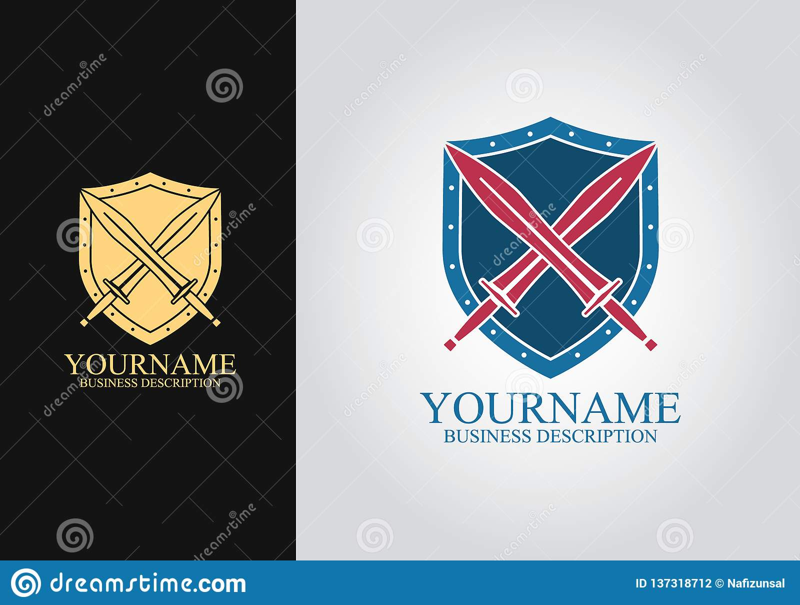 Logo de conception d épée de bouclier