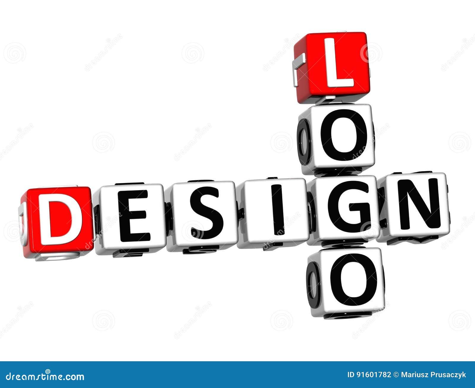 Logo de conception des mots croisé 3D sur le fond blanc