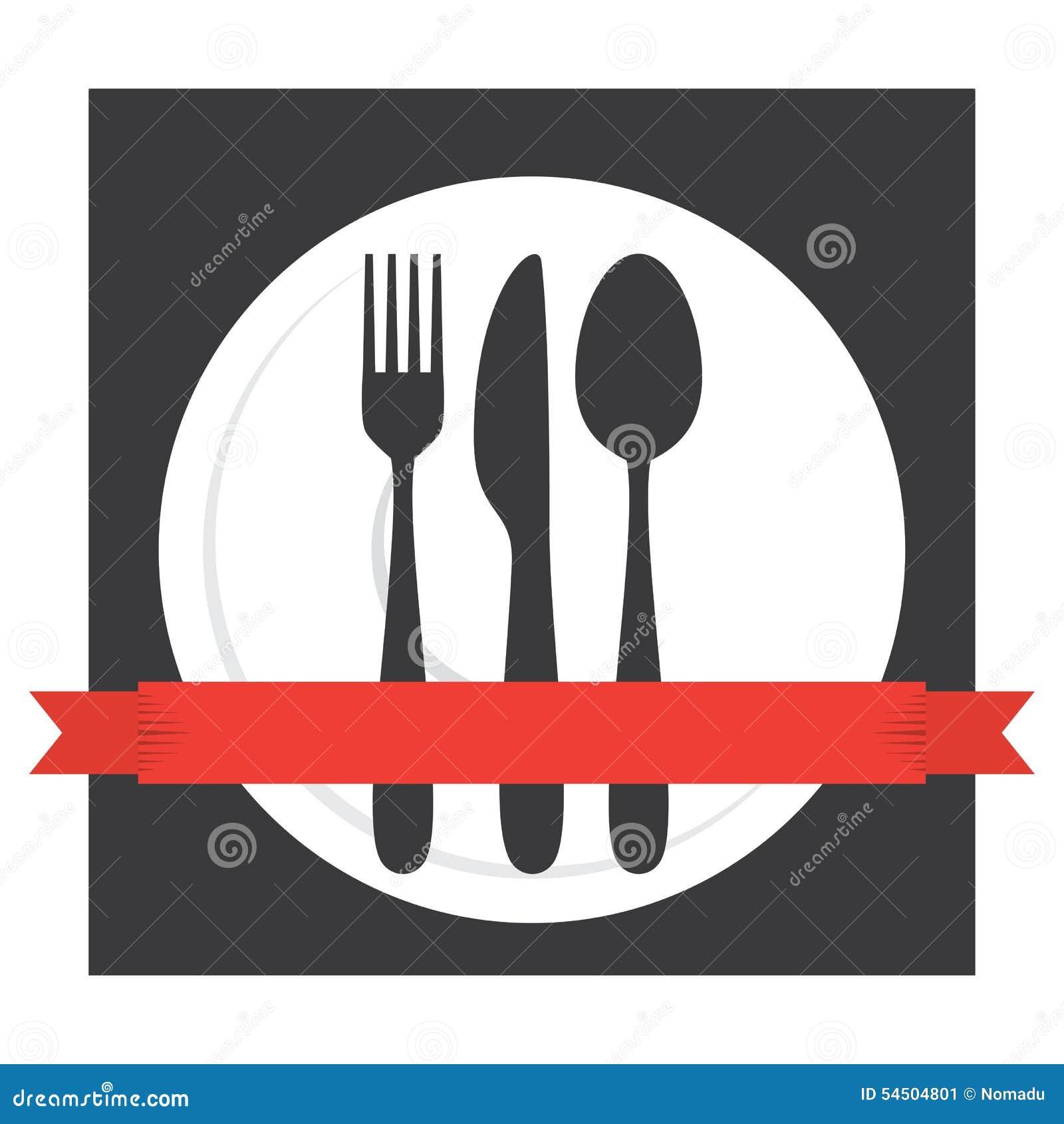 Logo de couverts de café de nourriture