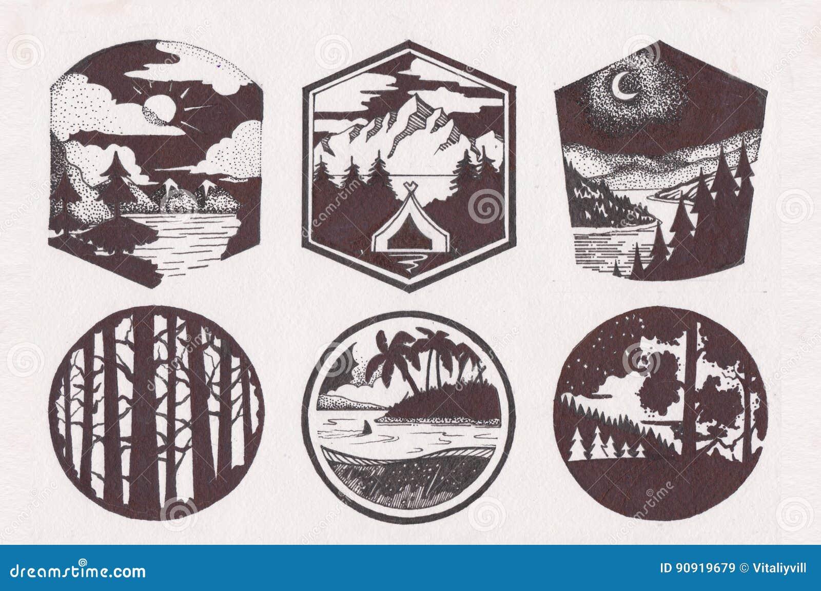 Logo de croquis de montagne réglé dans le rétro style Lignes à la mode labels de vintage de silhouettes de montagnes Logotype ave