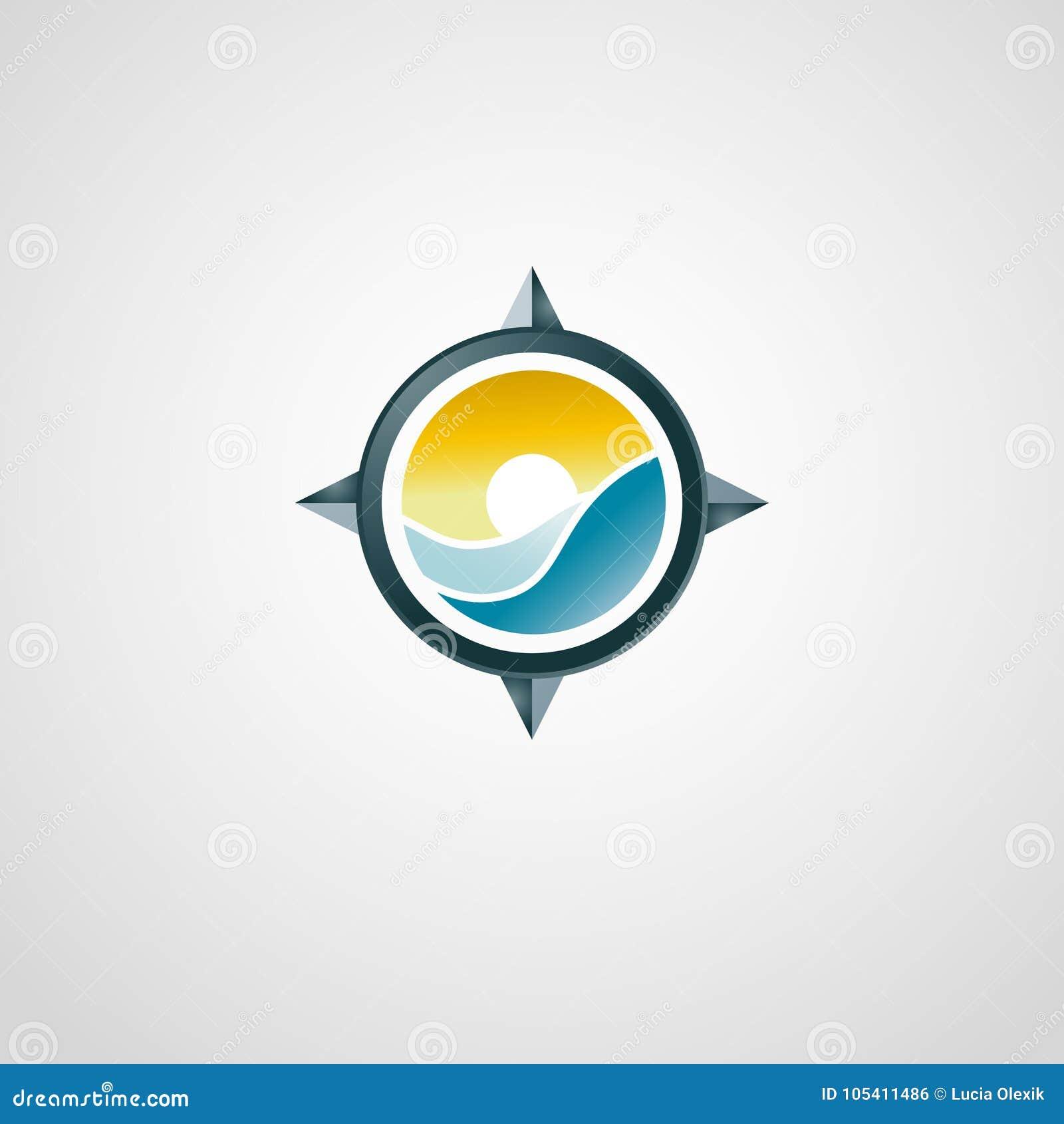 Logo de déplacement avec la boussole Coucher du soleil et mer