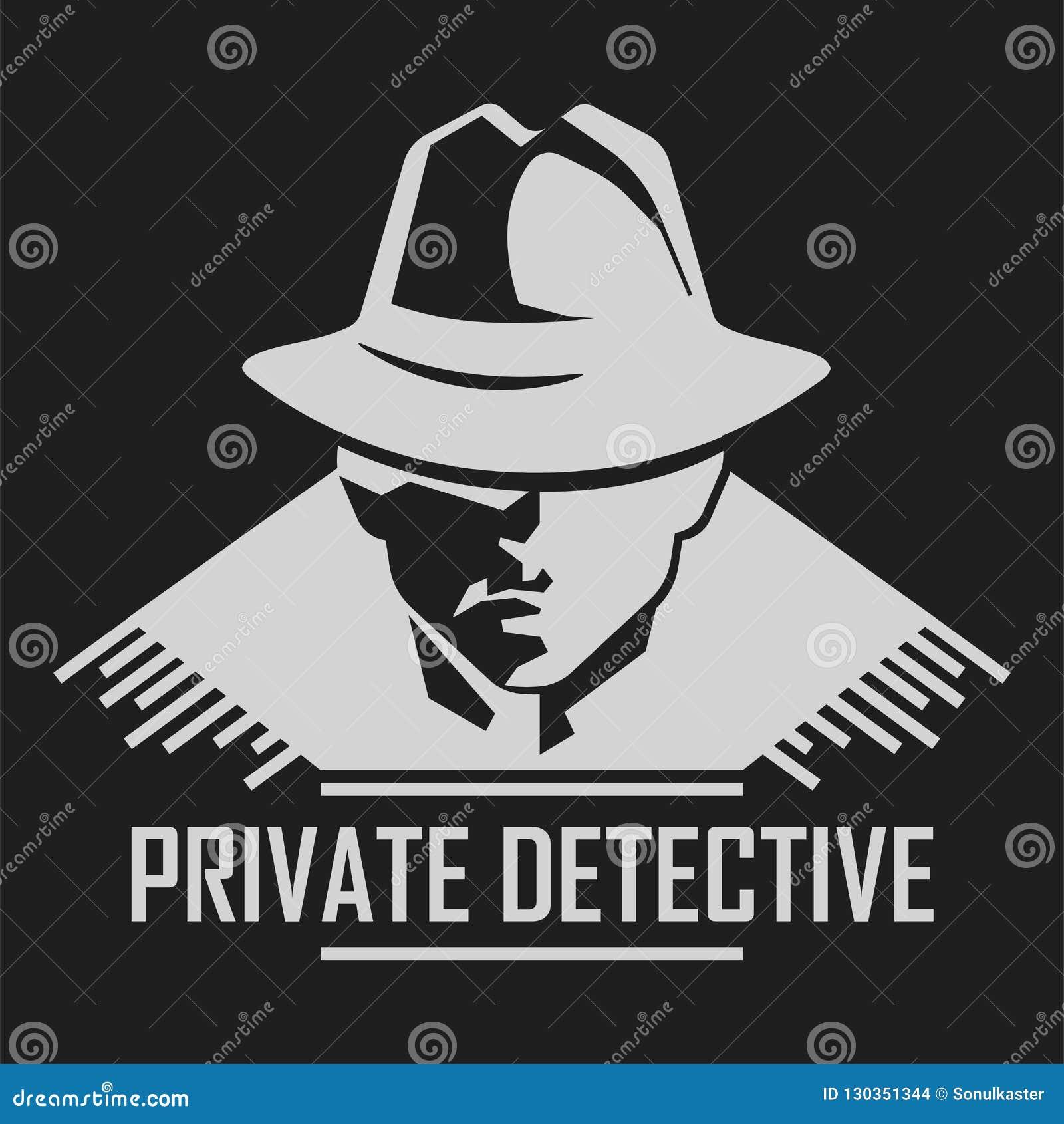 Logo de détective privé d homme de vecteur dans le chapeau pour l organisme de service d enquête