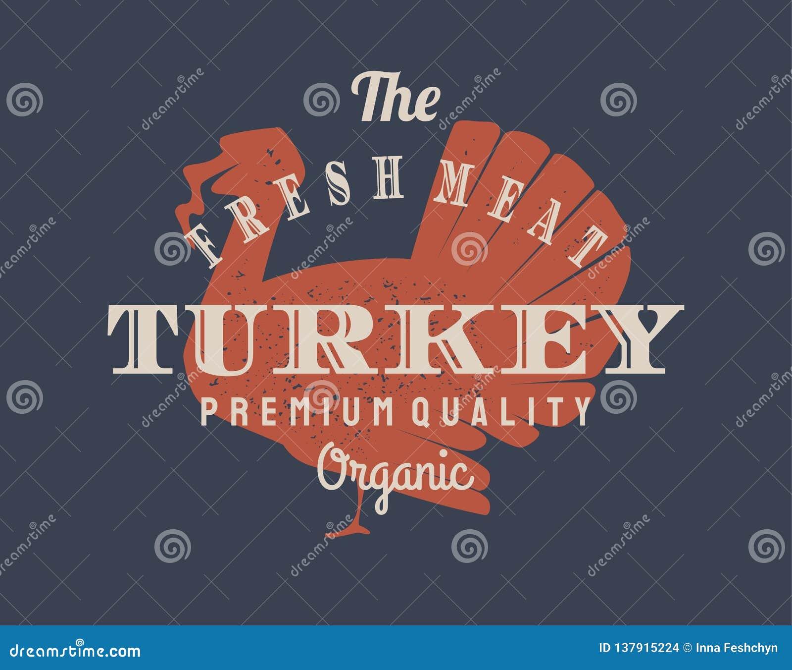 Logo de dinde de cru pour des affaires de laiterie et de viande, boucherie, marché Calibre, timbre, insigne, label avec la silhou