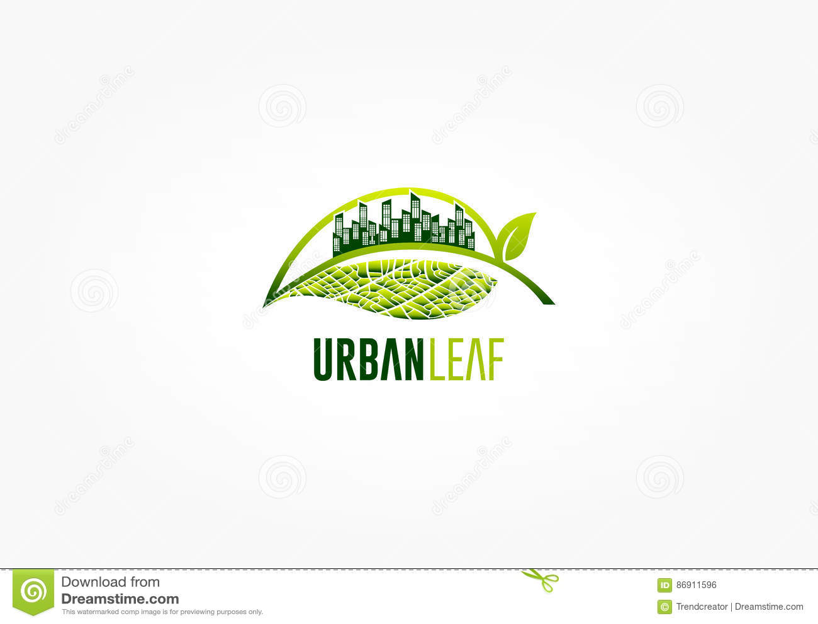 Logo de feuille de ville, symbole vert de jardin, icône de parc et conception de l avant-projet d écologie
