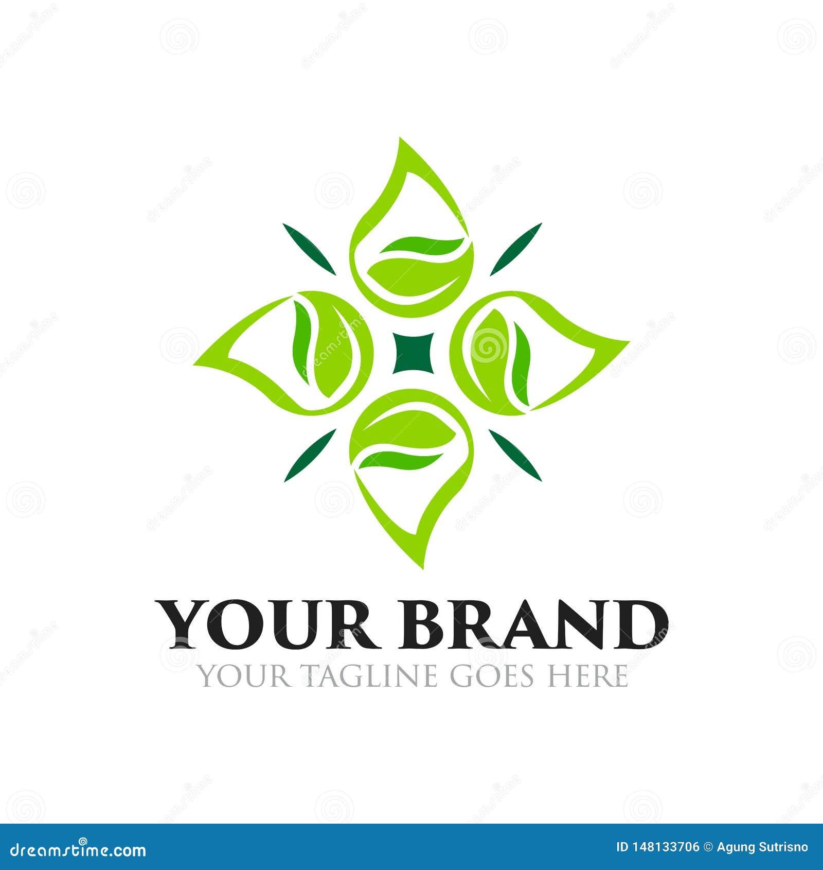 Logo de feuille, naturel, sain, et de baisse de l eau - vecteur