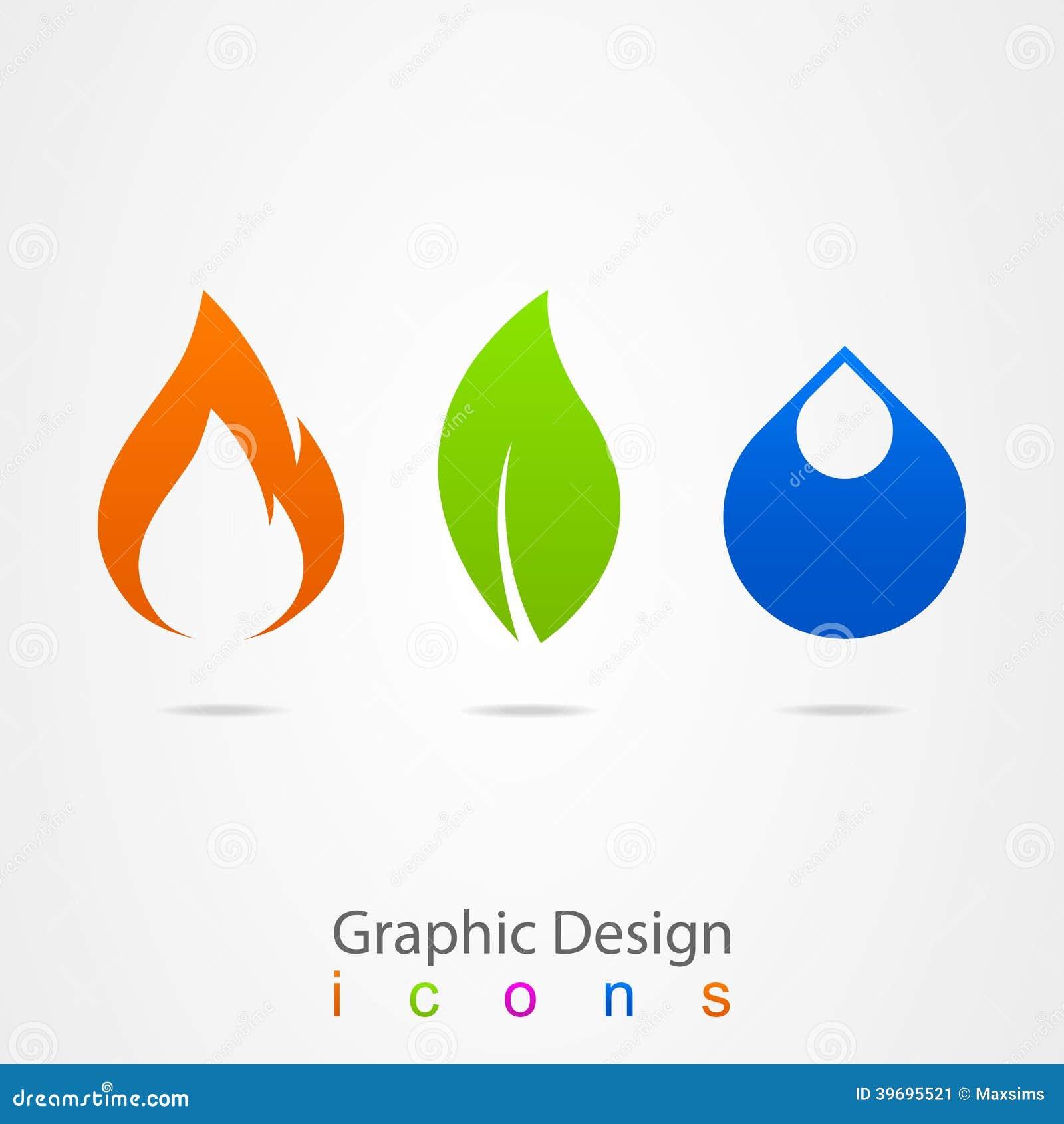 Logo de flamme de feuille de baisse de conception graphique