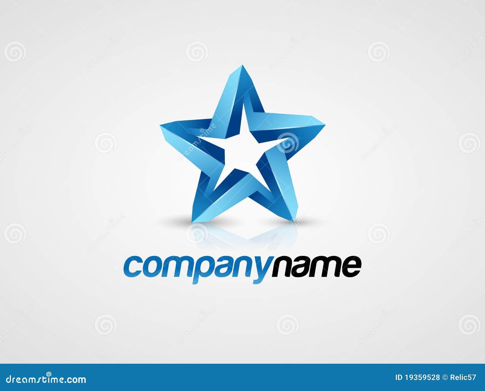 Logo de l étoile 3D bleue