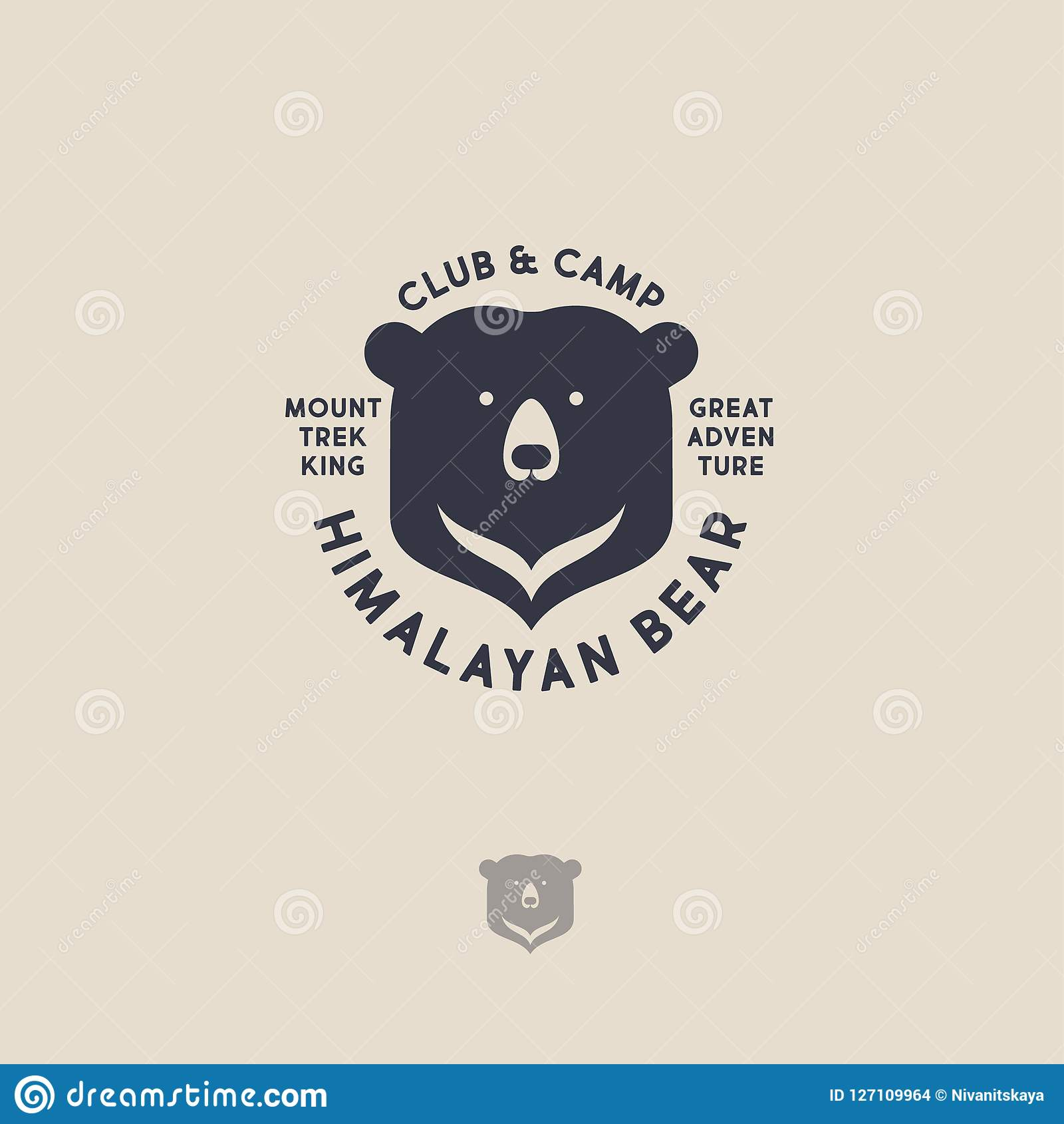 Logo de l Himalaya d ours Emblème de voyage de montagne Club et camp actifs de loisirs