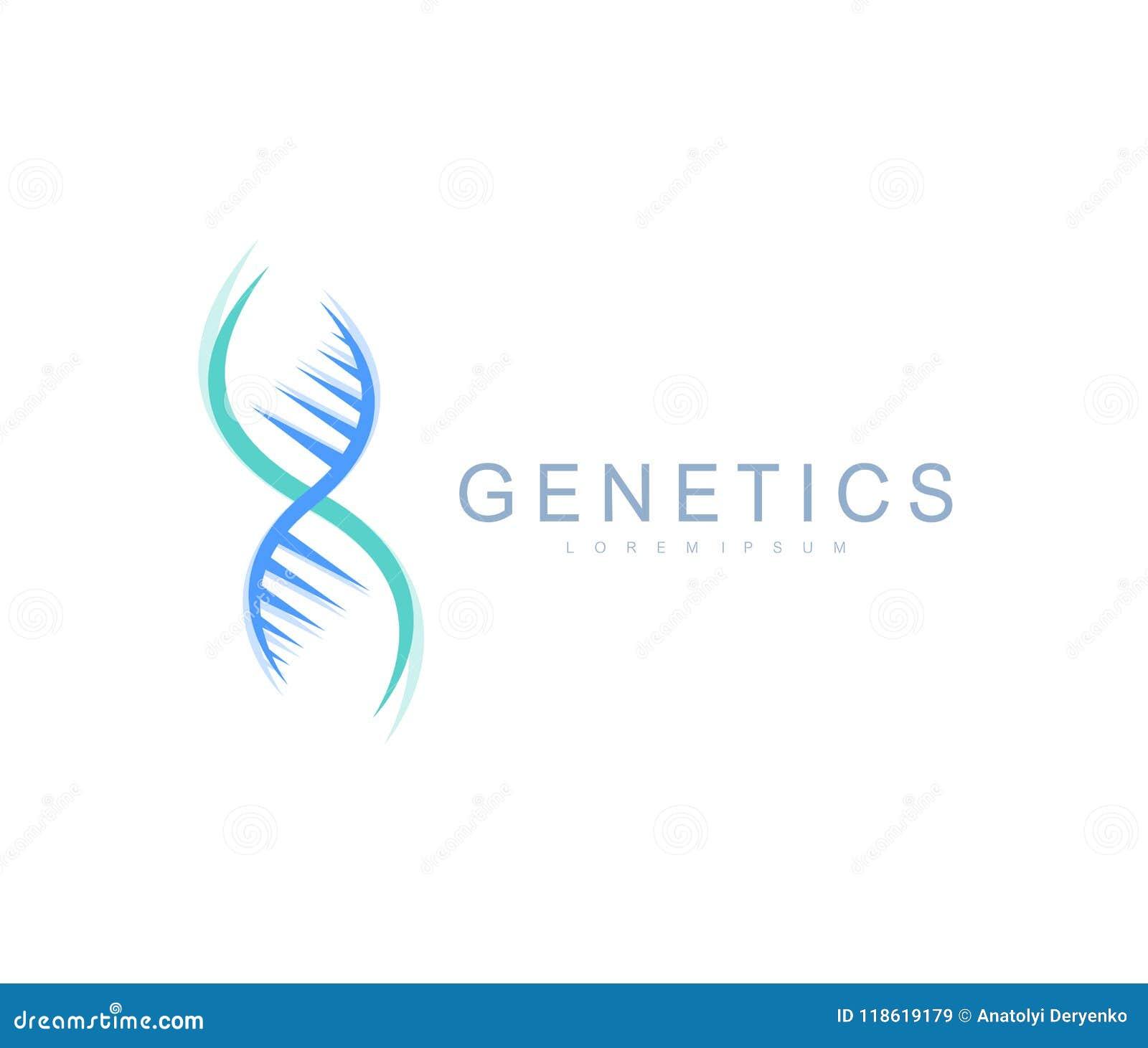 Logo de la génétique de la Science, hélice d ADN Analyse génétique, ADN biotechnologique de code de recherches Chromosome de géno