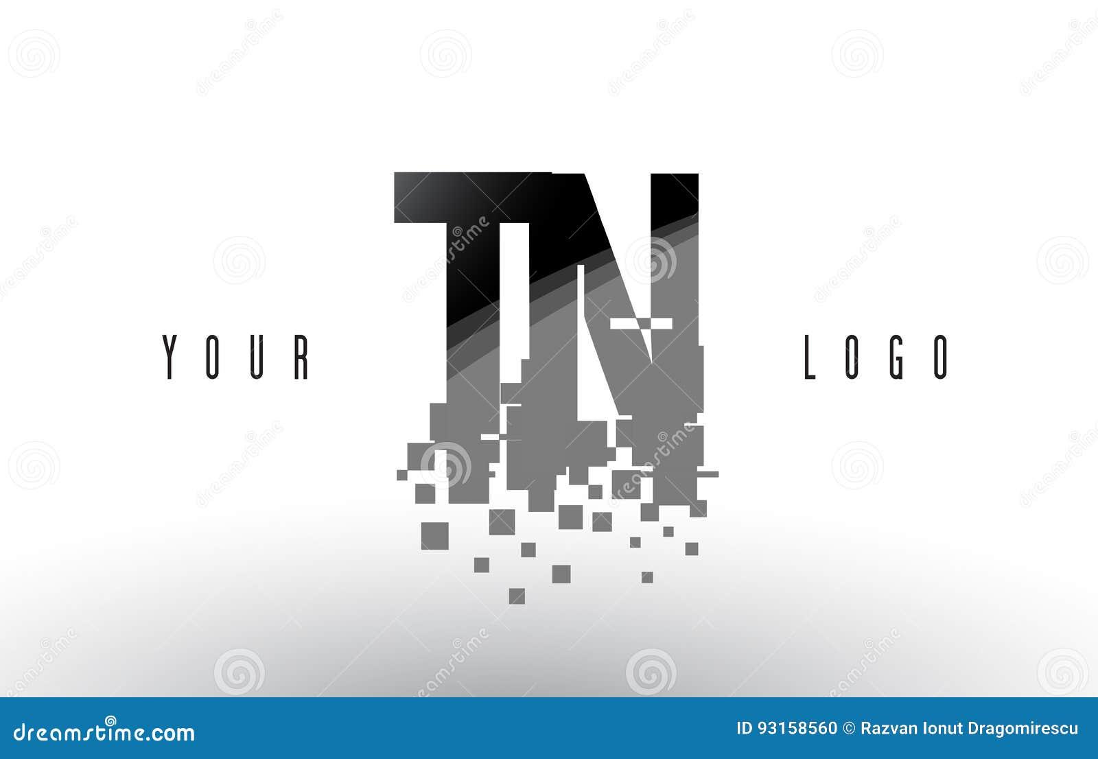 Logo de lettre de pixel de TN T N avec les places noires brisées par Digital