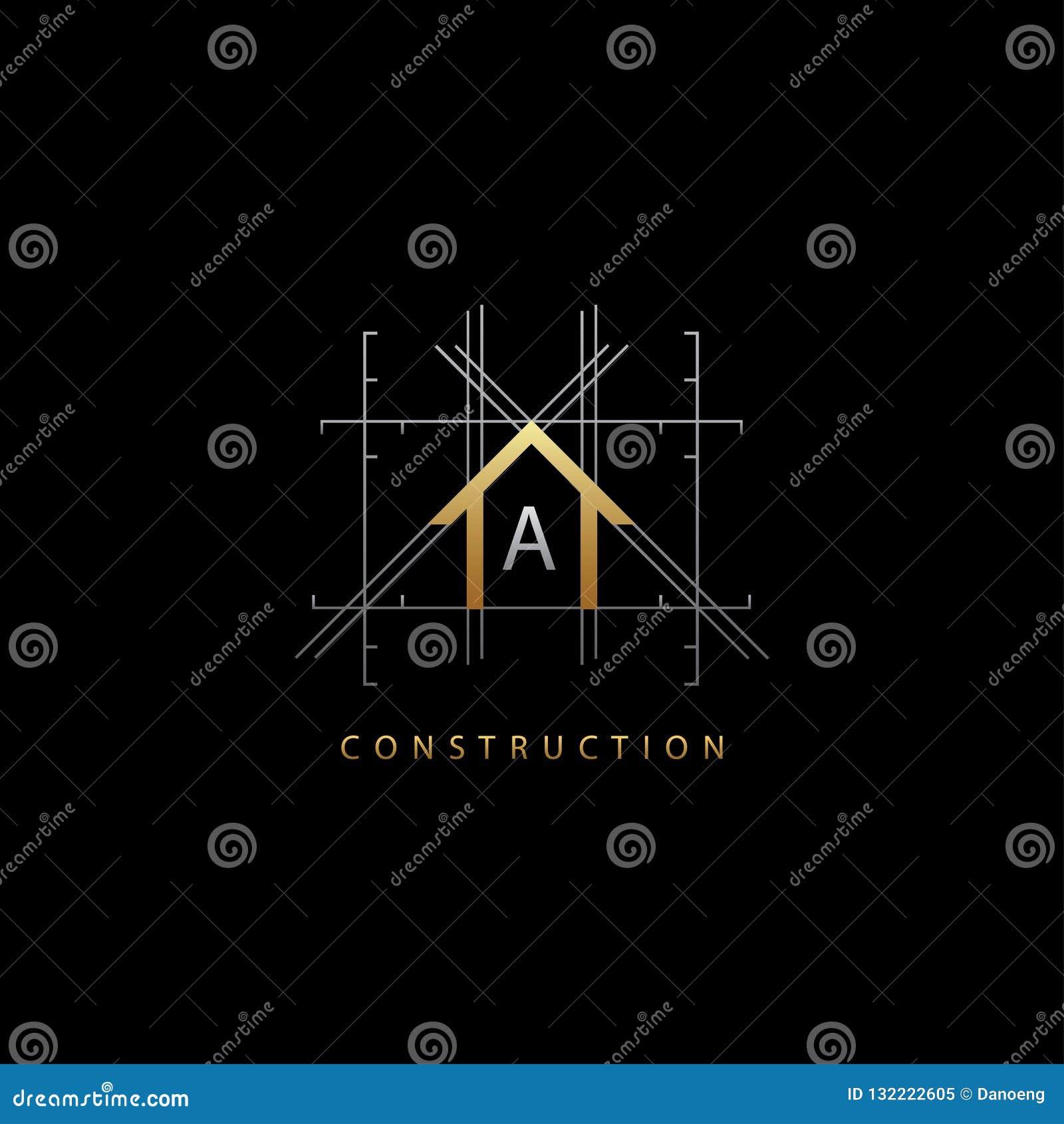 Logo de lettre du concept A de Chambre d or