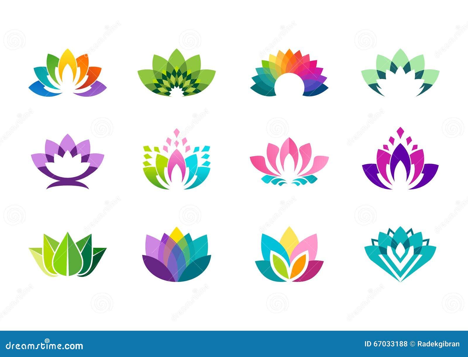 Logo de Lotus, conception de vecteur de logotype de fleurs de lotus