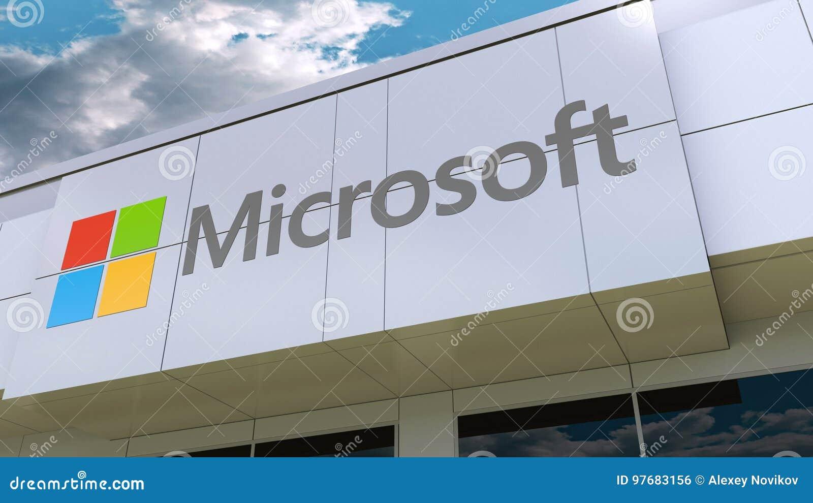 Logo de Microsoft sur la façade moderne de bâtiment Rendu 3D éditorial