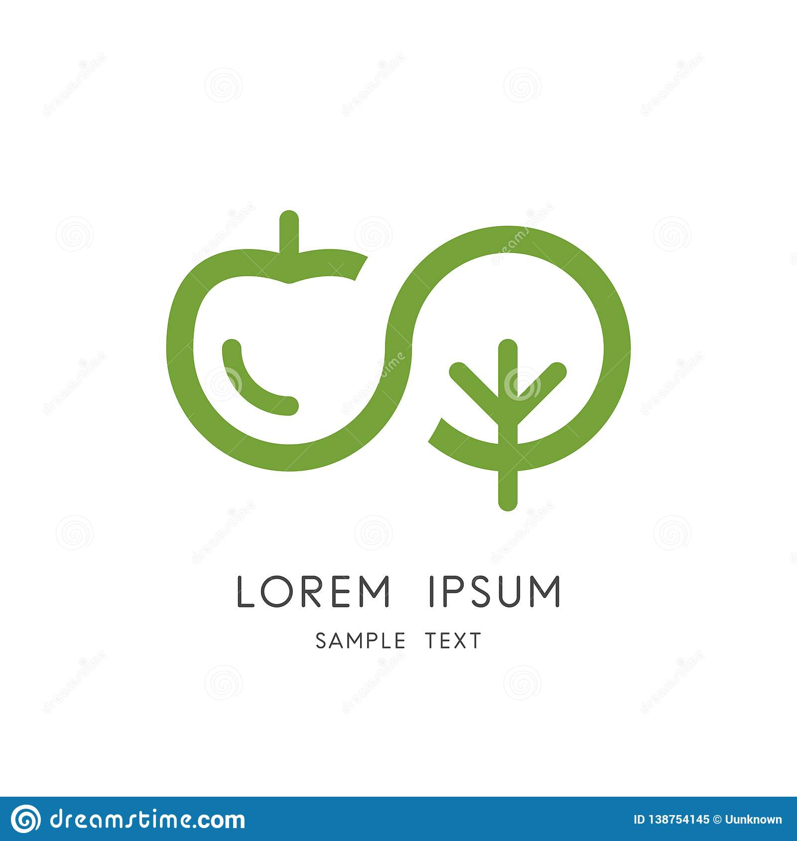 Logo de nature d infini - symbole de pomme et d arbre