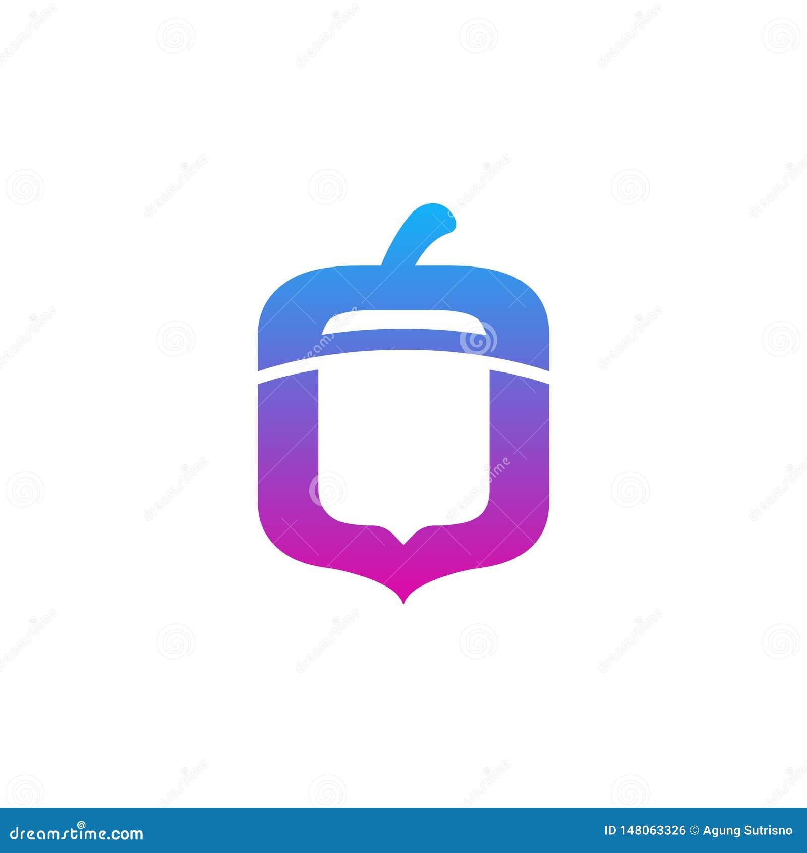 Logo de noix avec l appli mobile de gradient et le style moderne - vecteur
