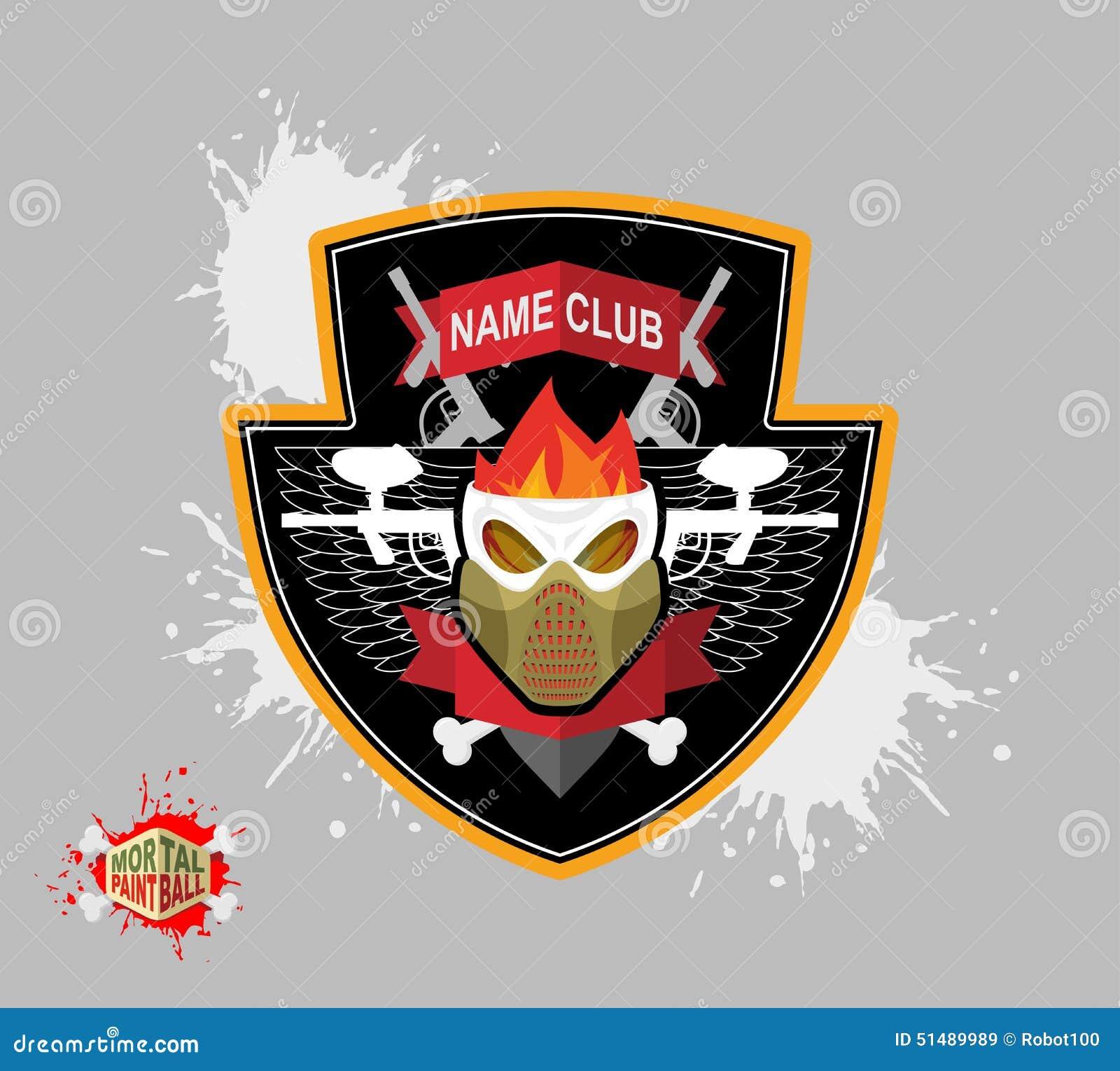 Logo de Paintball masque de protection de skul Bouclier héraldique avec des ailes