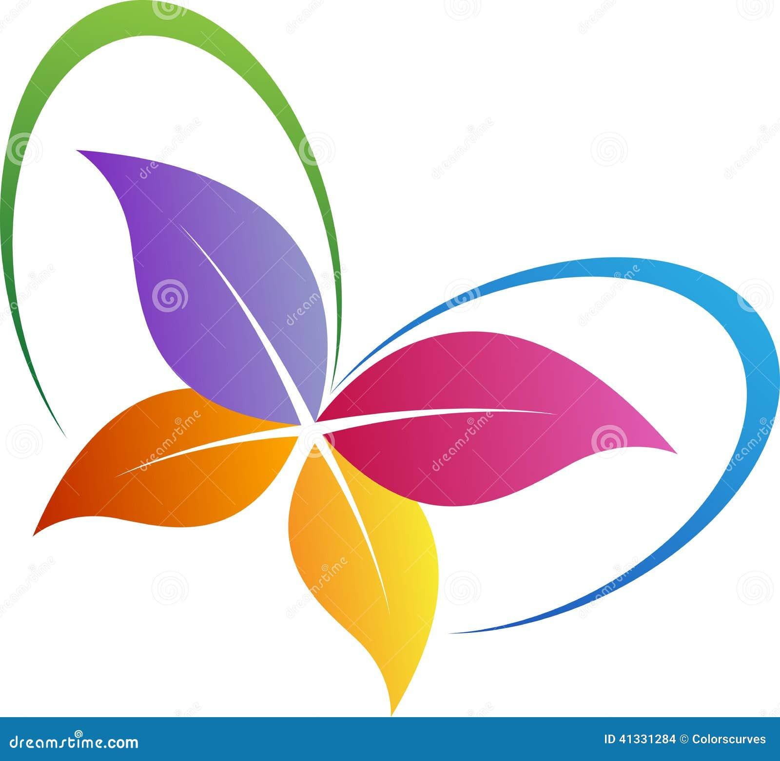 Logo de papillon de feuille