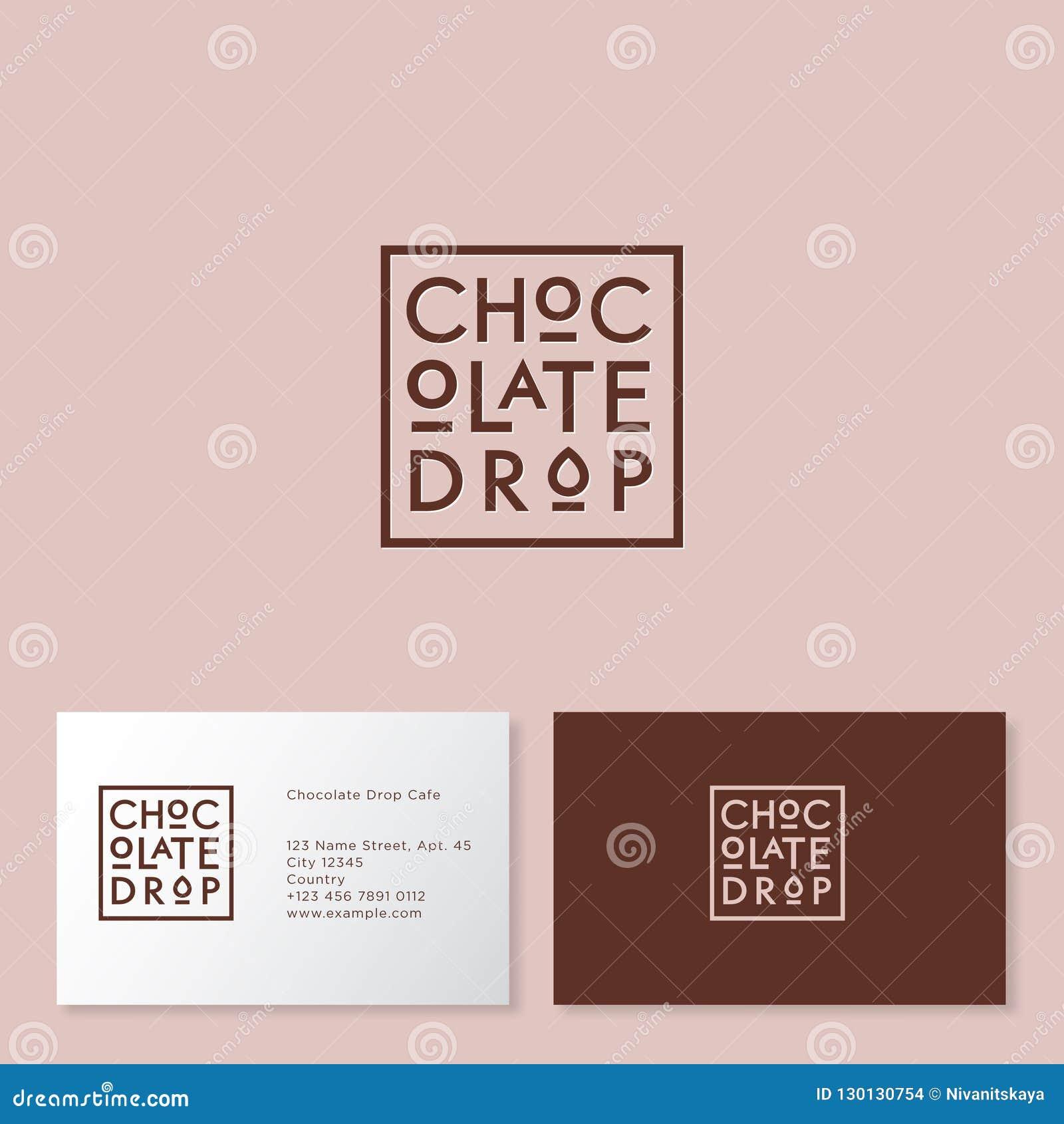 Logo de pastille de chocolat Gâteaux et café de desserts Lettres de Brown sur un insigne solide