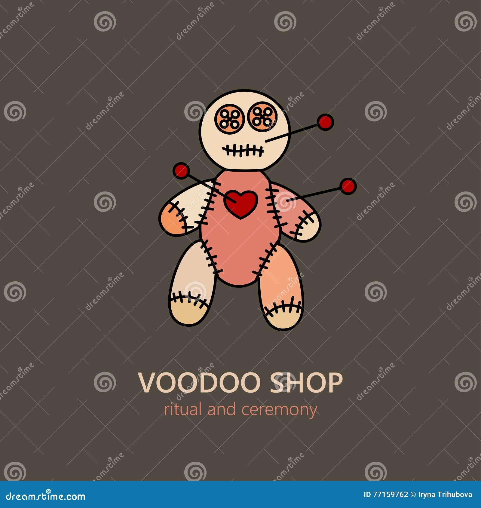 Logo de poupée de vaudou de vecteur