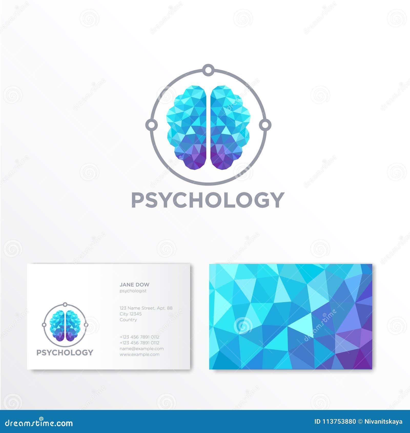 Logo De Psychologie Embleme En Cristal Bleu Et Violet Cerveau Identite Carte Visite Professionnelle
