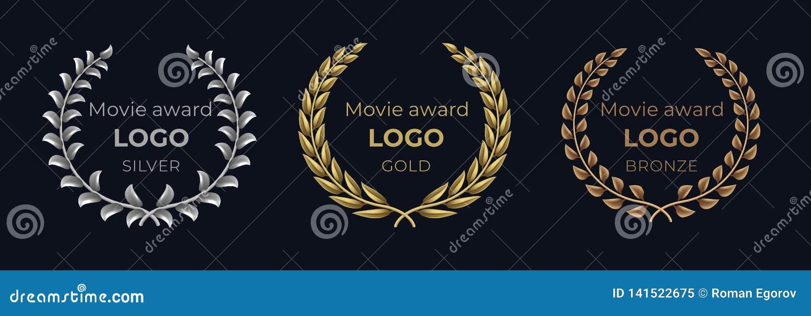 Logo de récompense de film Emblèmes d or de laurier, bannière de feuillage de récompense de gagnant, concept de luxe professionne